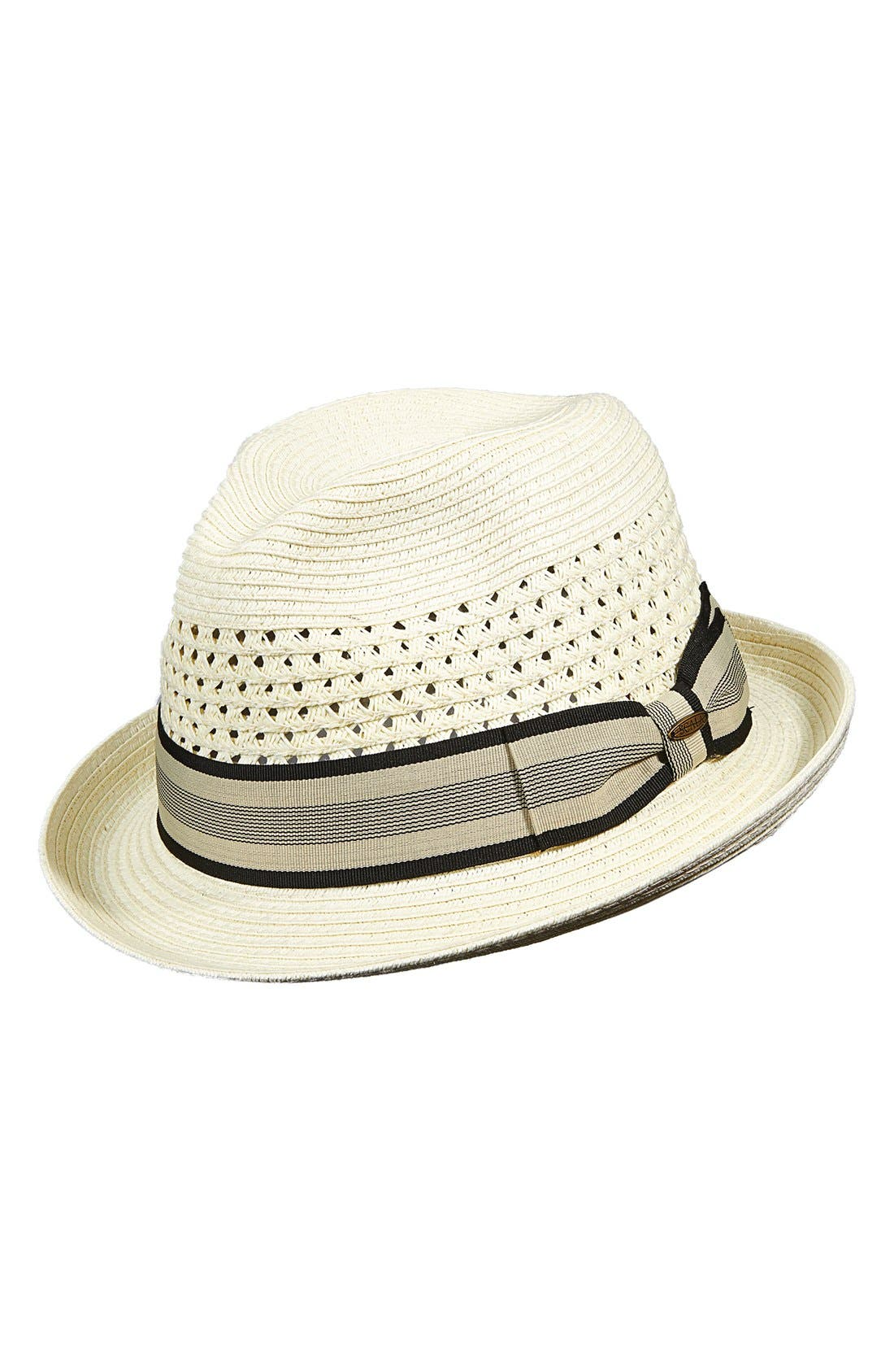 Braided Paper Fedora,                             Main thumbnail 1, color,                             Ivory