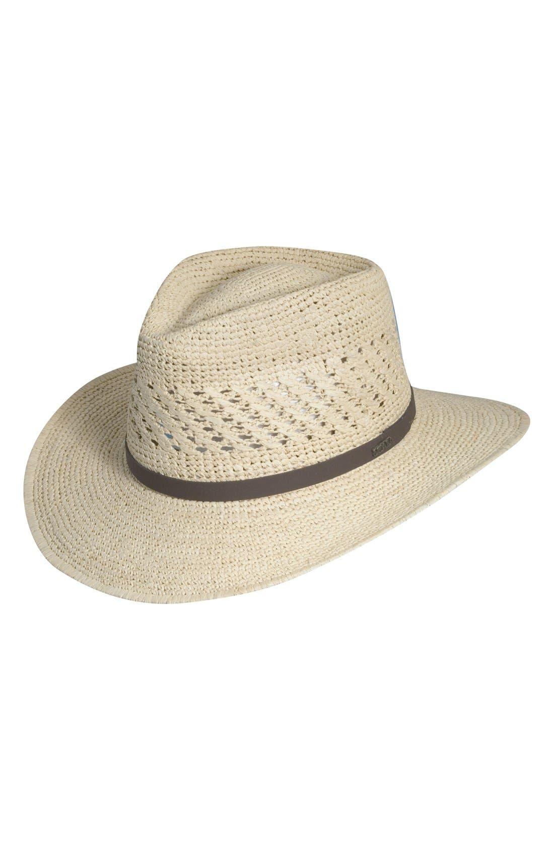Straw Outback Hat,                             Main thumbnail 1, color,                             Natural