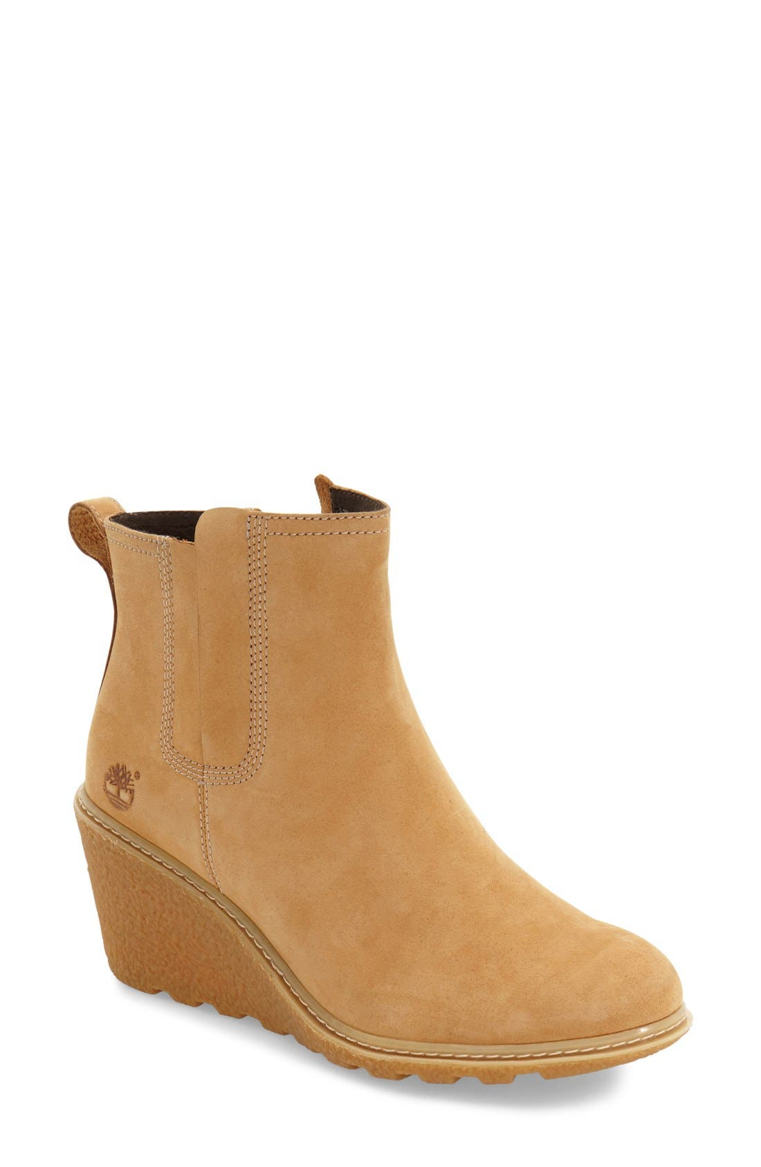 'Amston' Chelsea Wedge Boot,                             Main thumbnail 1, color,                             Wheat Nubuck Leather
