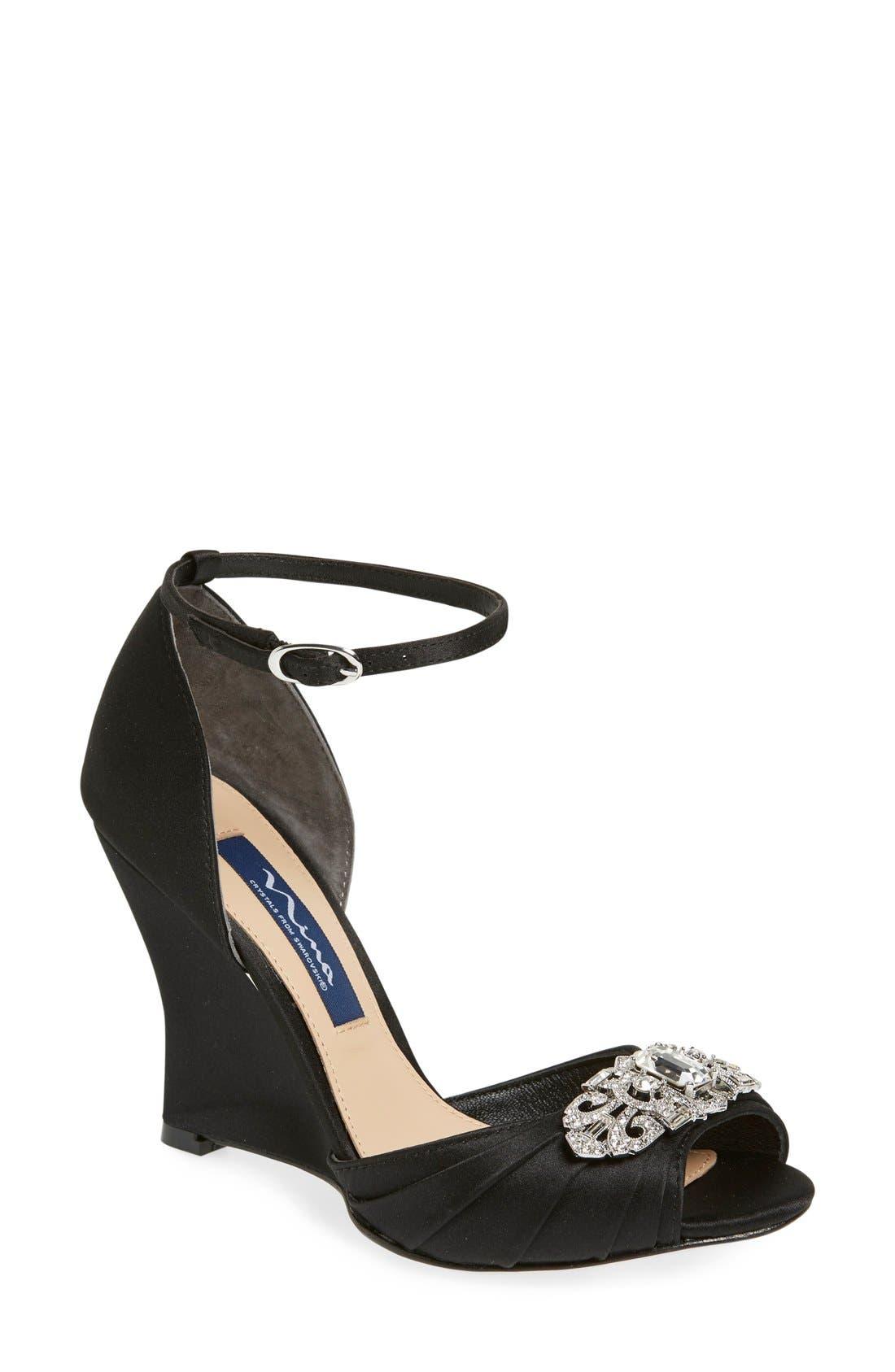 NINA Edyth Swarovski Wedge Sandal