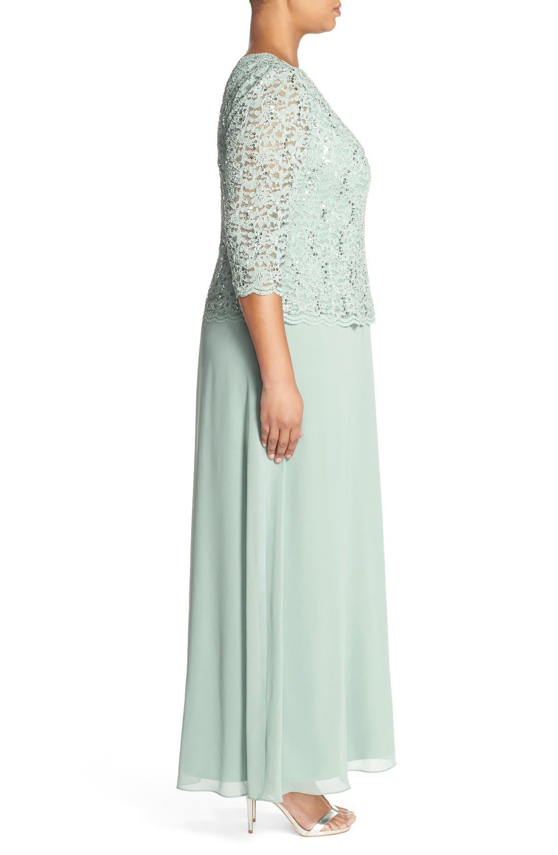 Embellished Lace & Chiffon Gown,                             Alternate thumbnail 3, color,                             Sage