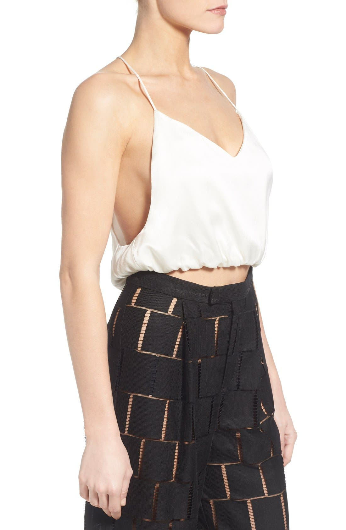 Silk Crop Top,                             Alternate thumbnail 3, color,                             White