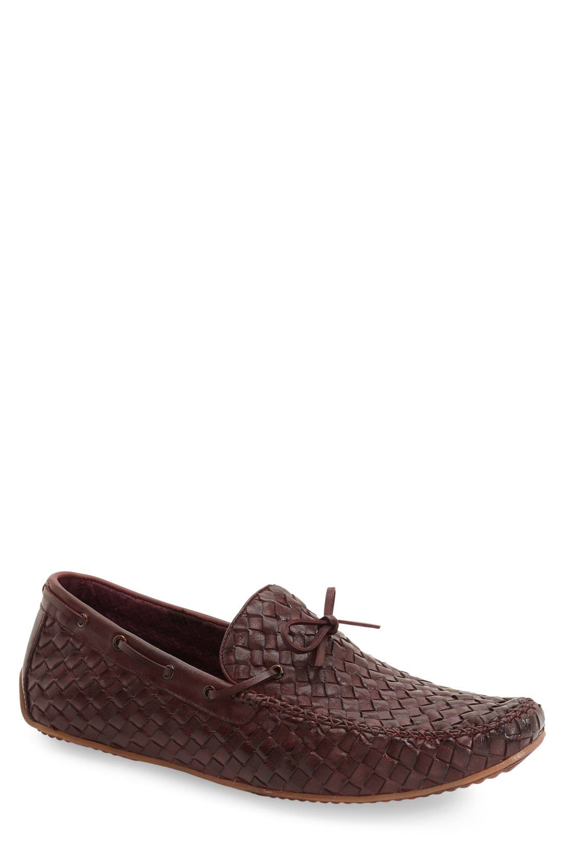 Leather Loafer,                         Main,                         color, Wine Leather