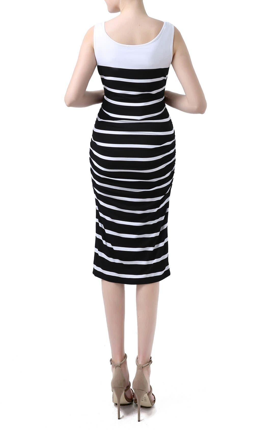 'Jackie' Stripe Sleeveless Maternity Midi Dress,                             Alternate thumbnail 2, color,                             Black/ White