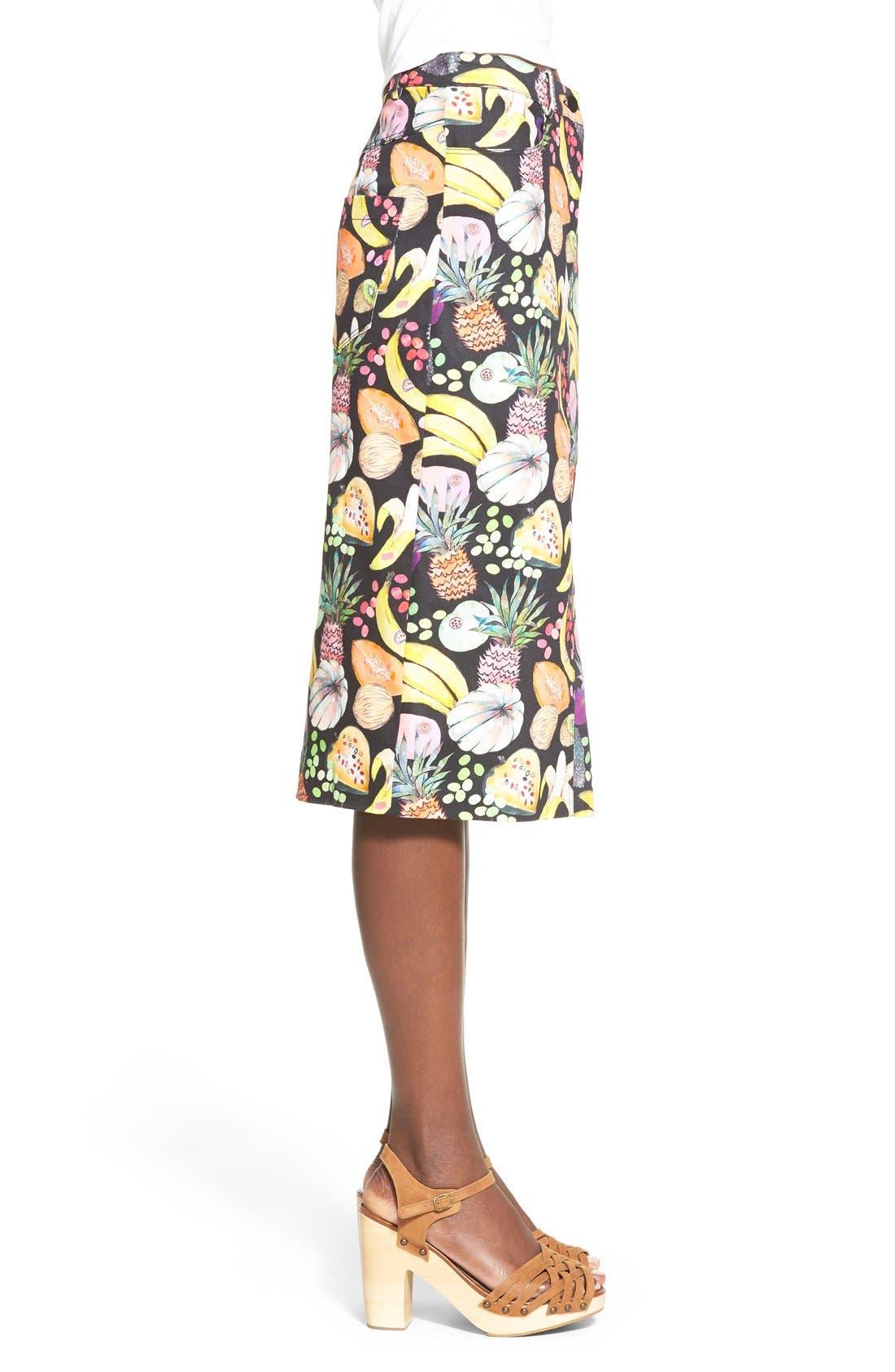 'Hilary' Denim Pencil Skirt,                             Alternate thumbnail 3, color,                             Tutti Frutti Black