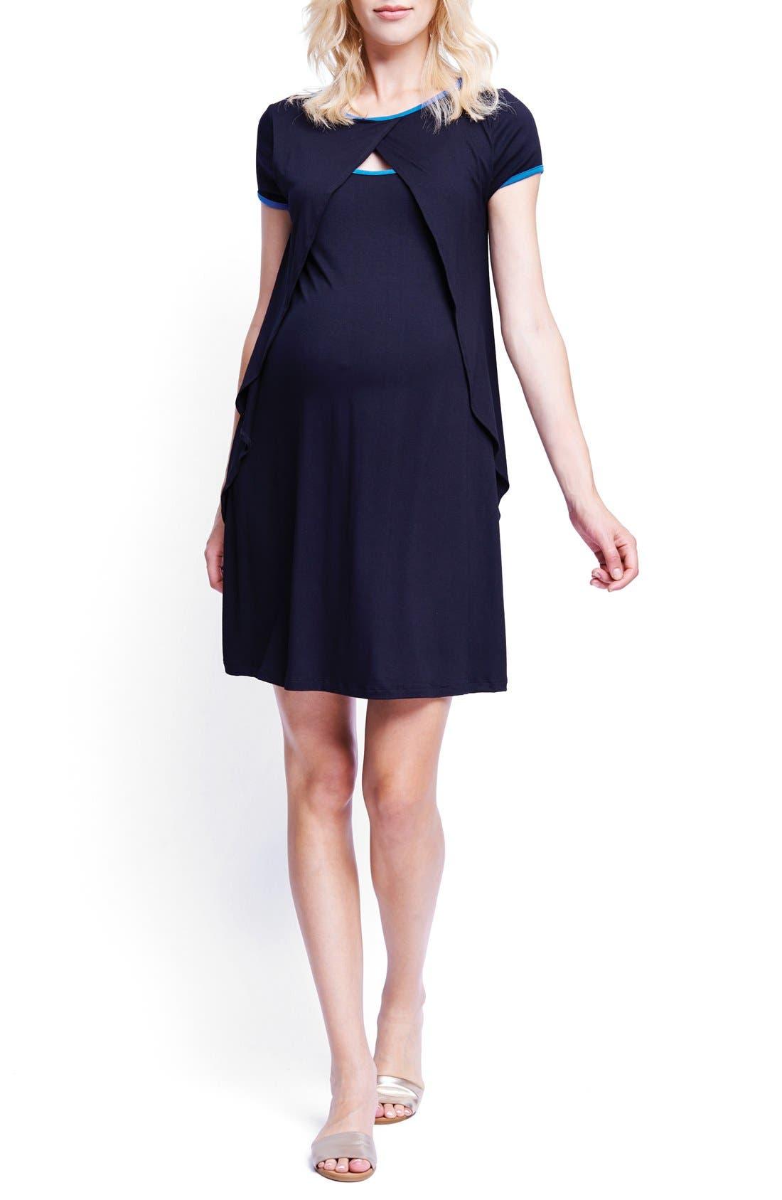 Crossover Maternity/Nursing Dress,                         Main,                         color, Blk/ Royal Blue
