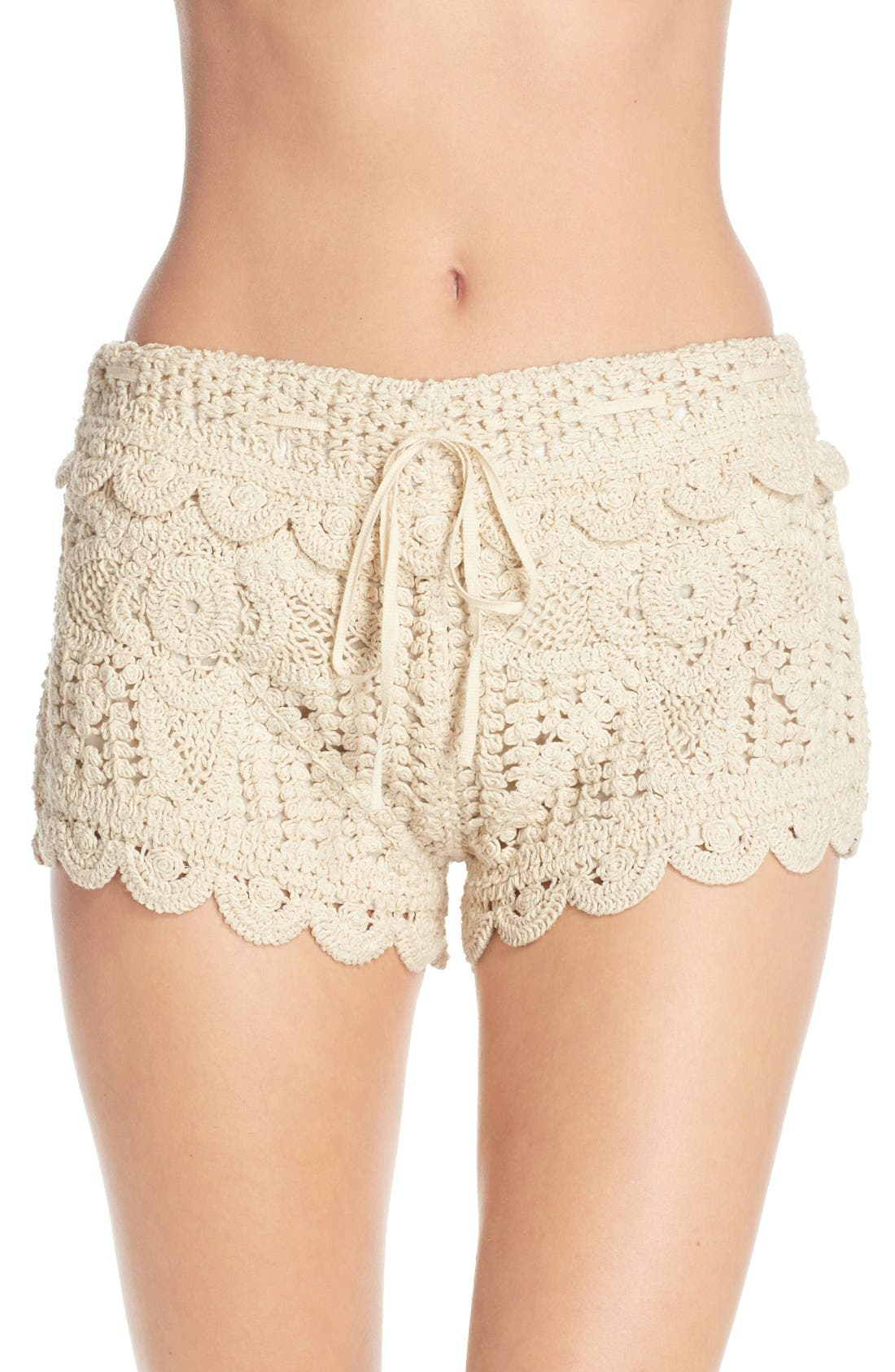 Main Image - Surf Gypsy Crochet Cover-Up Shorts