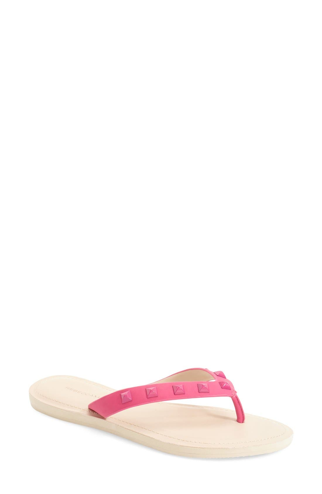 'Fiona' Thong Sandal,                         Main,                         color, Fuchsia Nappa