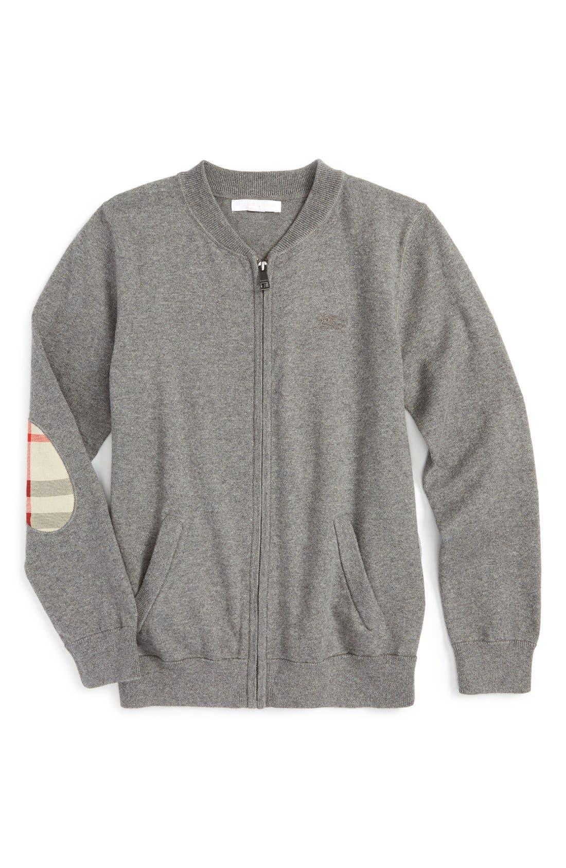 'Jaxon' Zip Front Cotton Cardigan,                             Main thumbnail 1, color,                             Mid Grey Melange