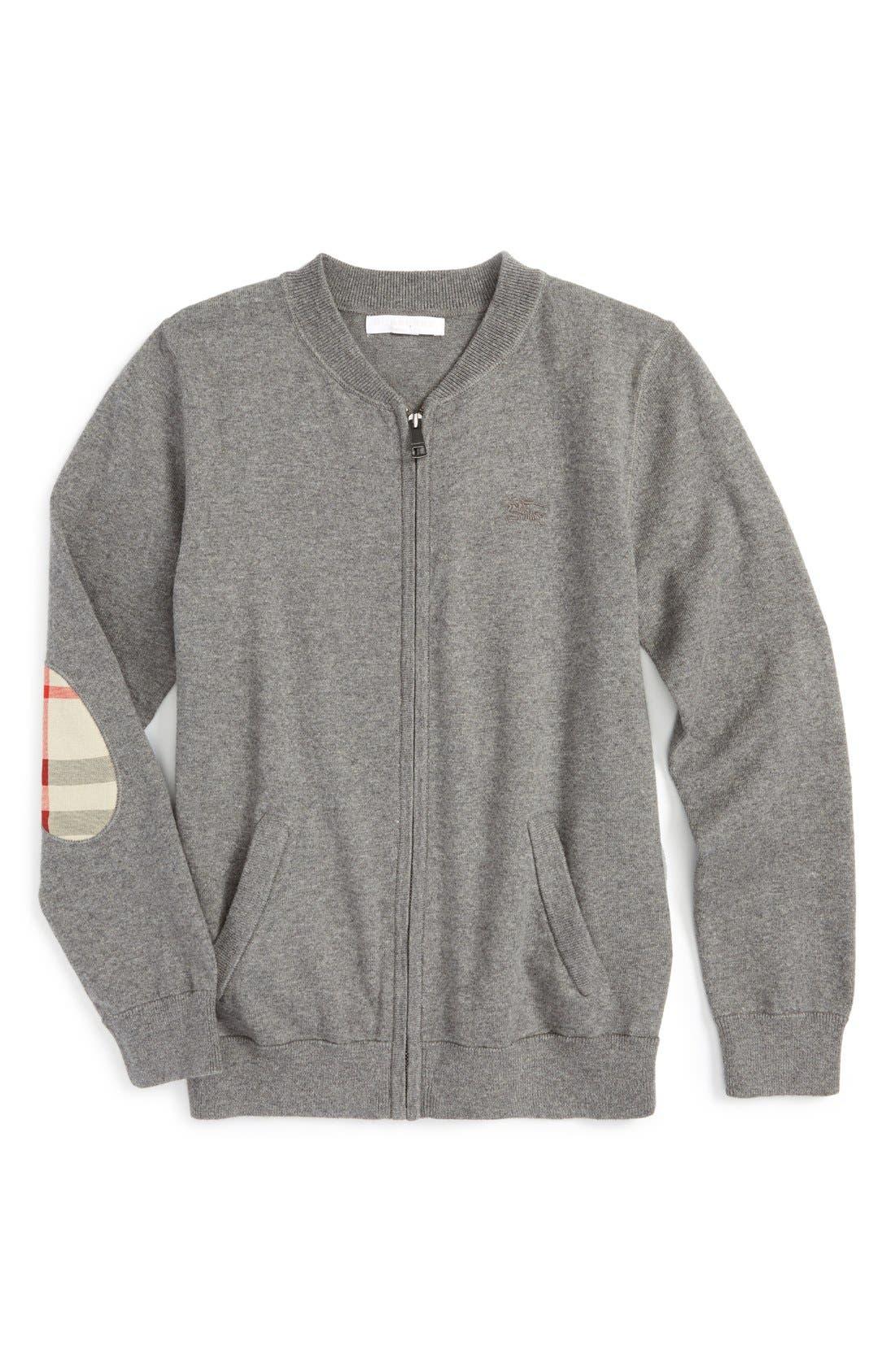 'Jaxon' Zip Front Cotton Cardigan,                         Main,                         color, Mid Grey Melange