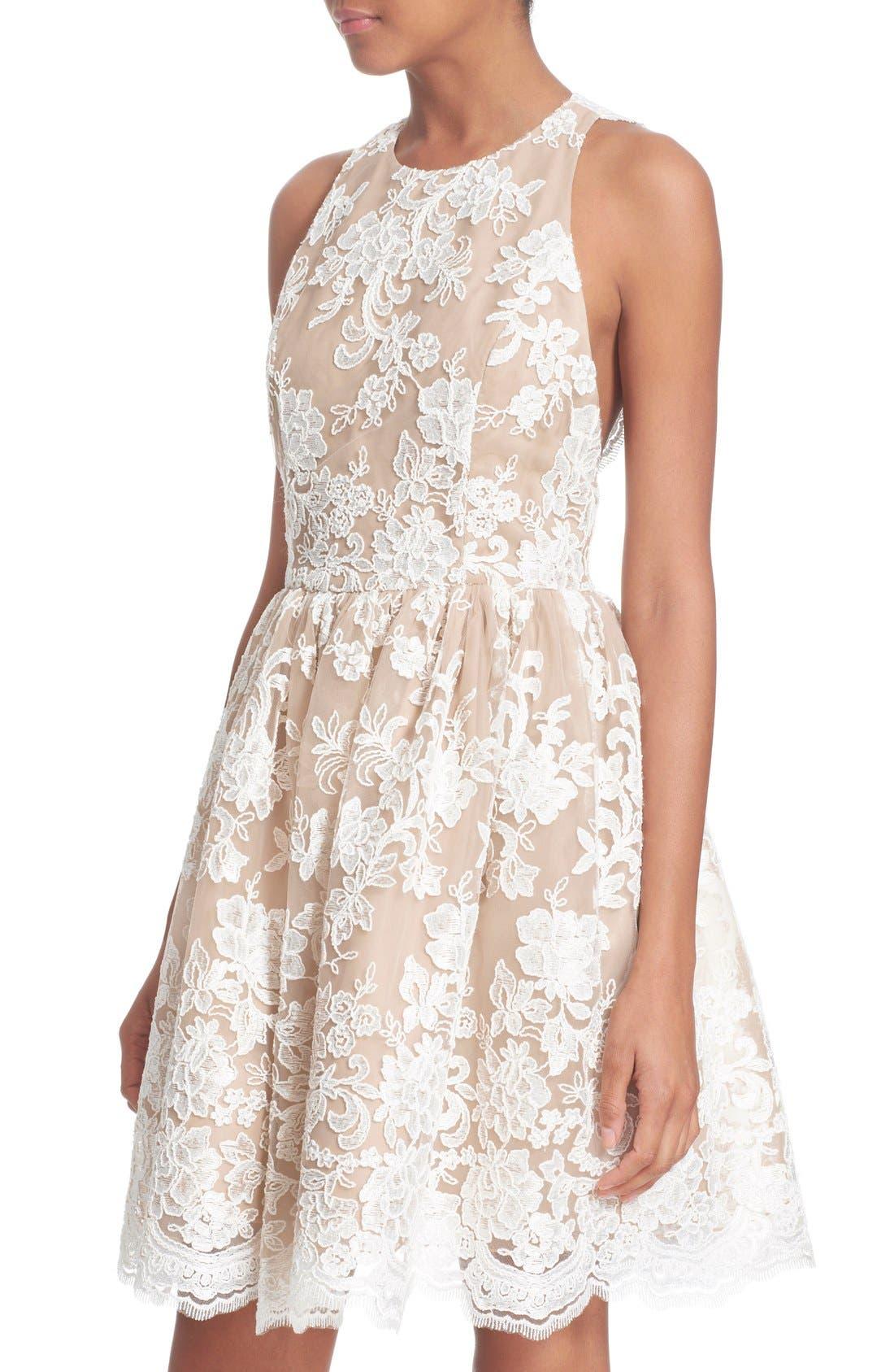 Alternate Image 4  - Alice + Olivia 'Ladonna' Lace Fit & Flare Dress