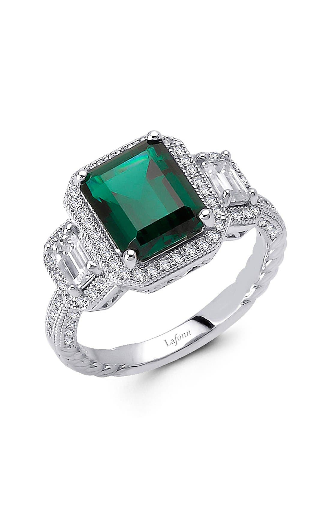 'Lassaire' Three Stone Ring,                             Main thumbnail 1, color,                             Emerald/ Silver