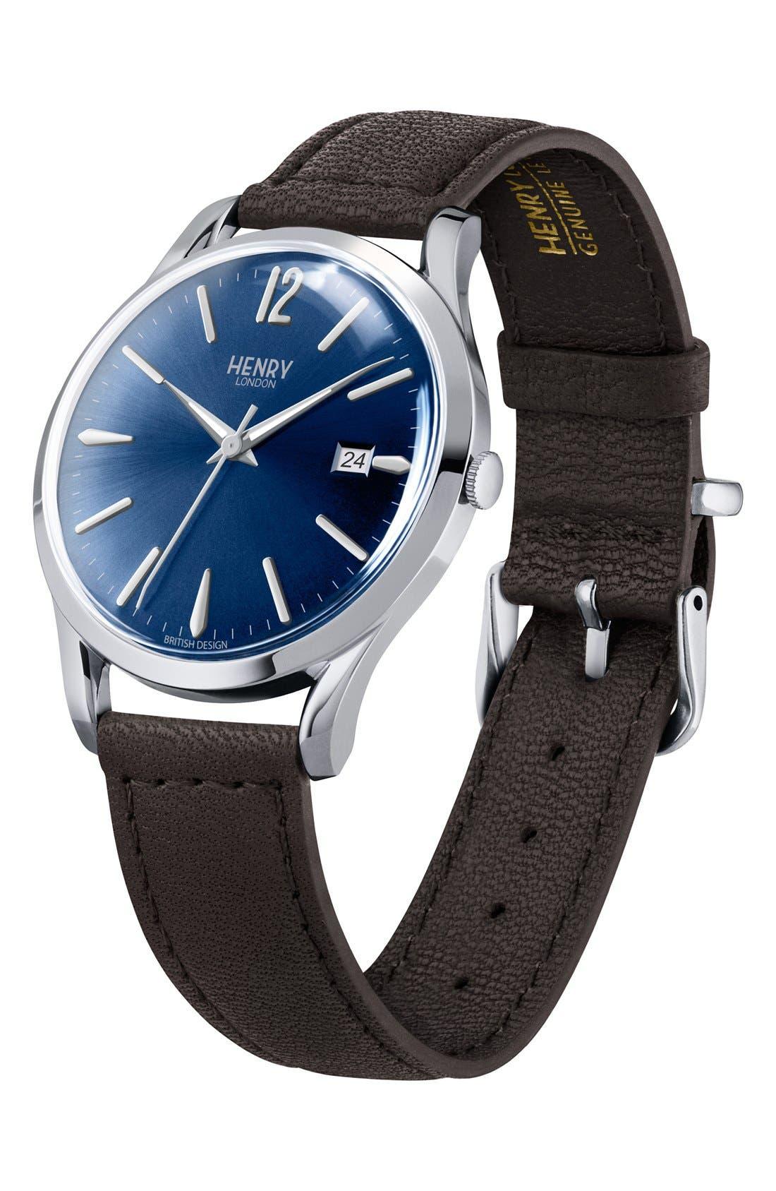'Knightsbridge' Leather Strap Watch, 38mm,                             Alternate thumbnail 3, color,                             Black/ Deep Blue