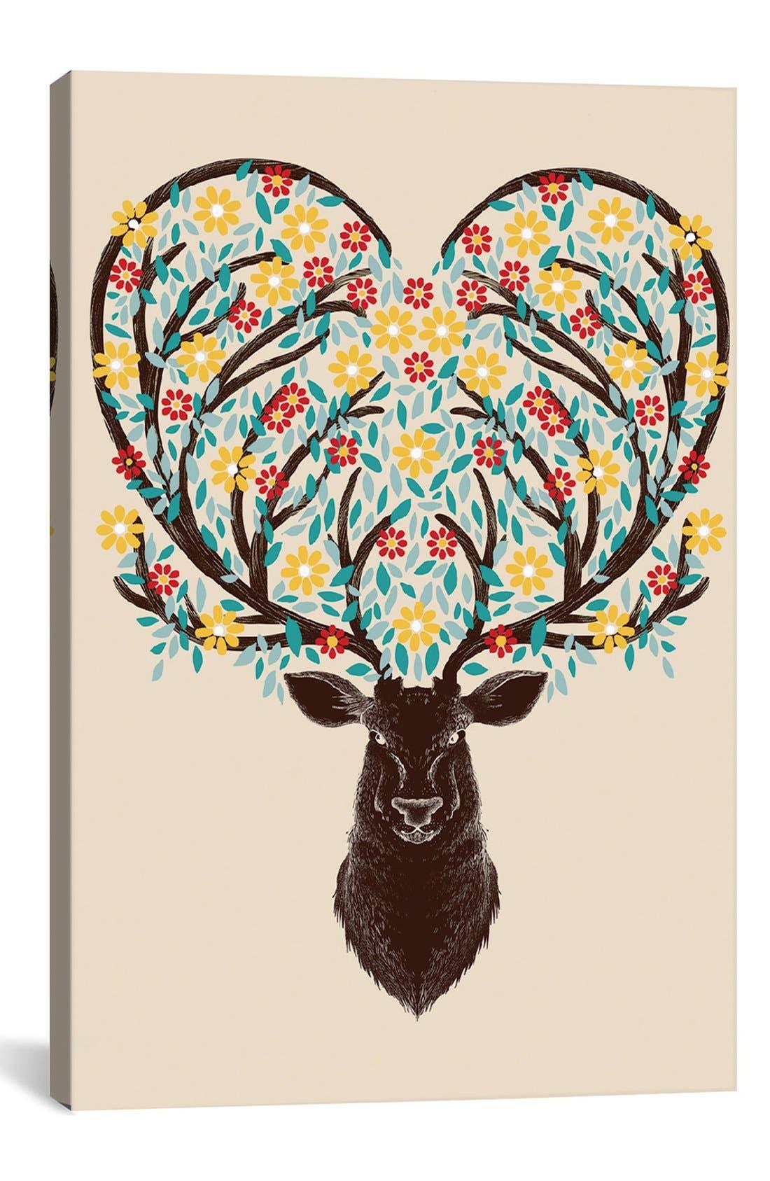 Main Image - iCanvas 'Blooming Deer' Giclée Print Canvas Art