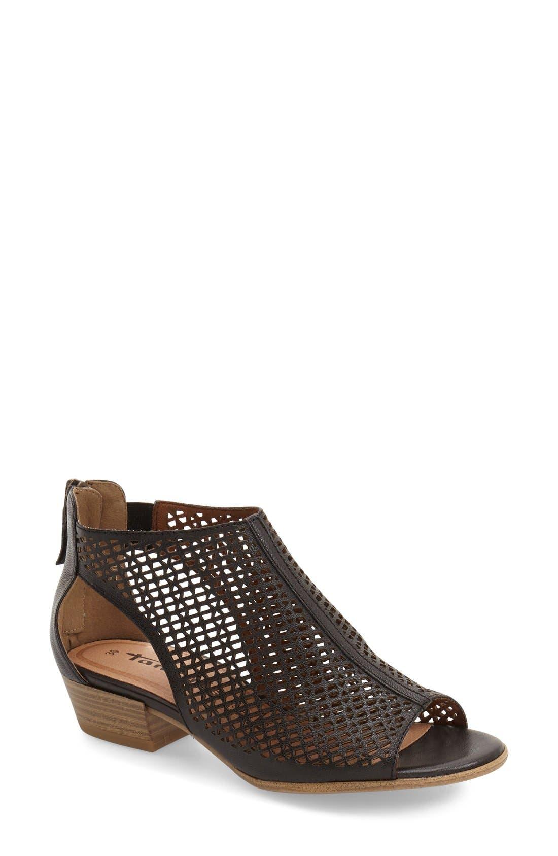 'Nao' Open Toe Sandal,                         Main,                         color, Black Leather