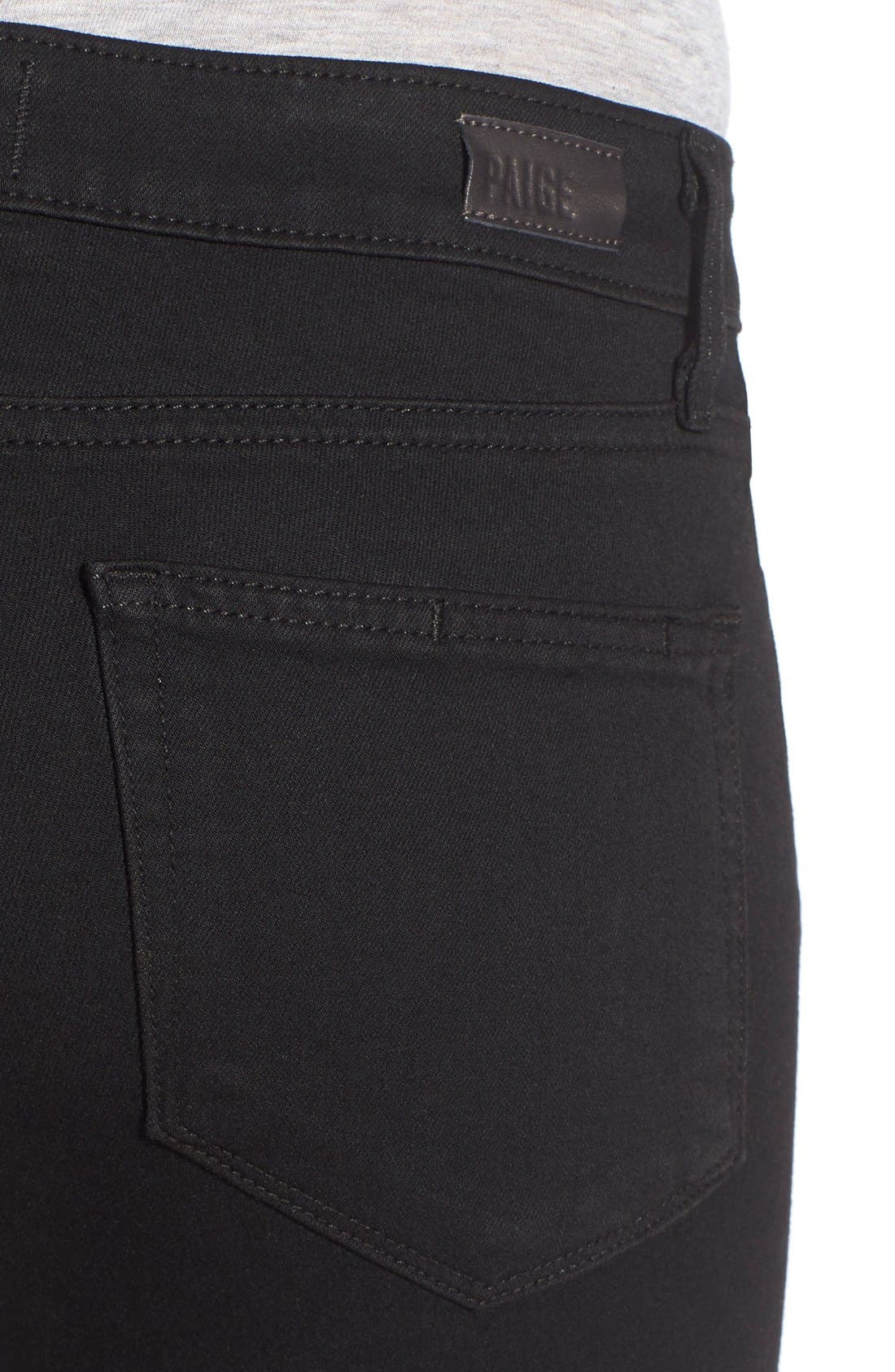 Alternate Image 4  - PAIGE Transcend - Verdugo Crop Skinny Jeans (Black Destructed)