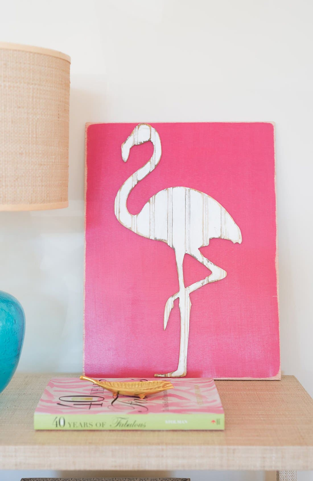 Alternate Image 3  - grace graffiti 'Flamingo' Distressed Wood Wall Art