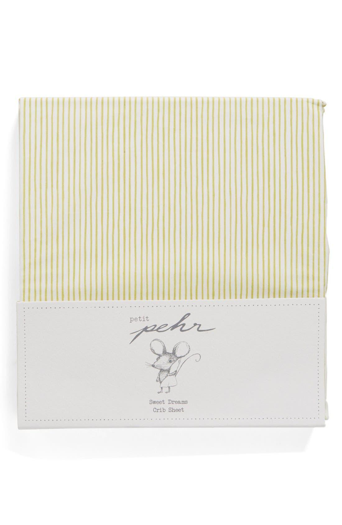 Pencil Stripe Crib Sheet,                             Main thumbnail 1, color,                             Citron