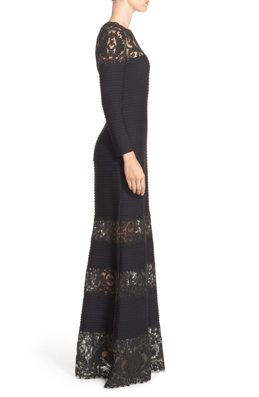 Jacky Illusion Gown,                             Alternate thumbnail 3, color,                             Black