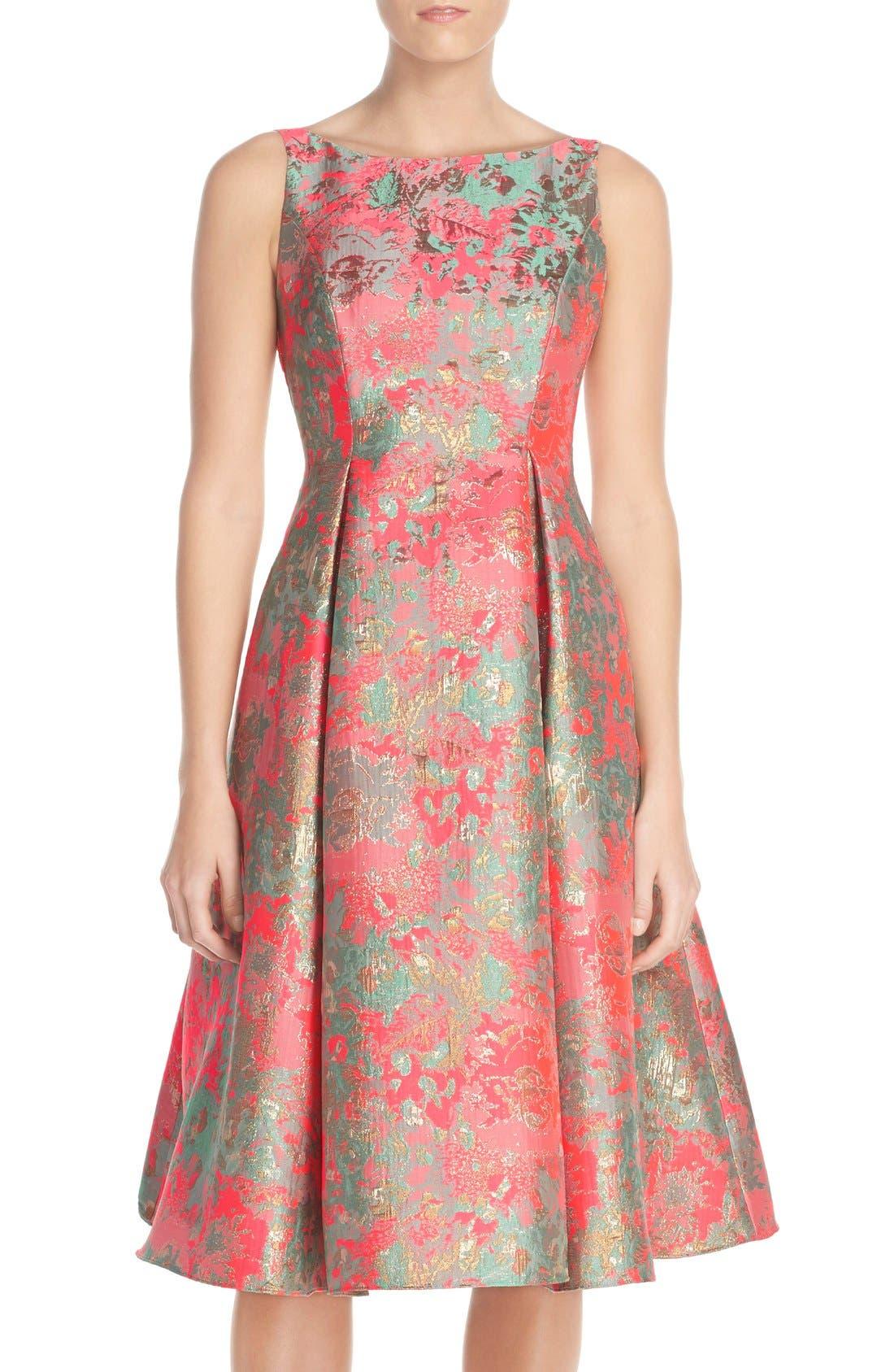 Main Image - Adrianna Papell Metallic Jacquard Fit & Flare Dress