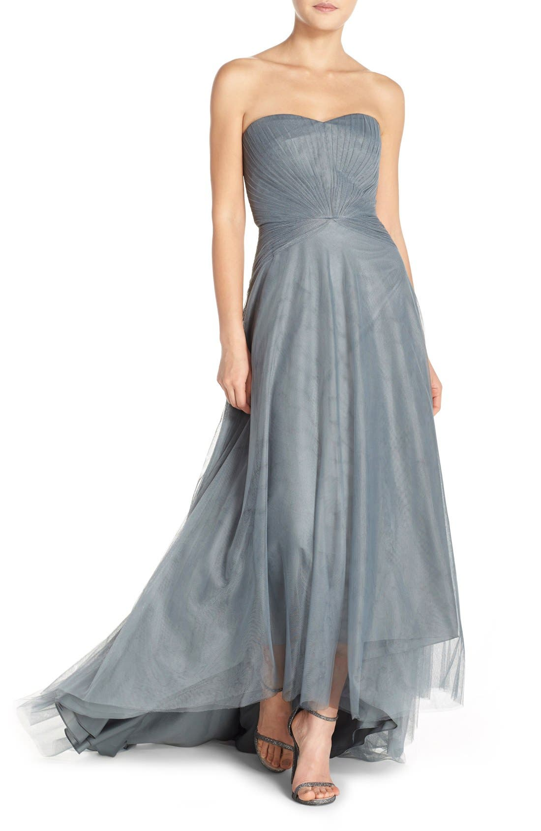 Main Image - Monique Lhuillier Bridesmaids Pleat Tulle Strapless Gown