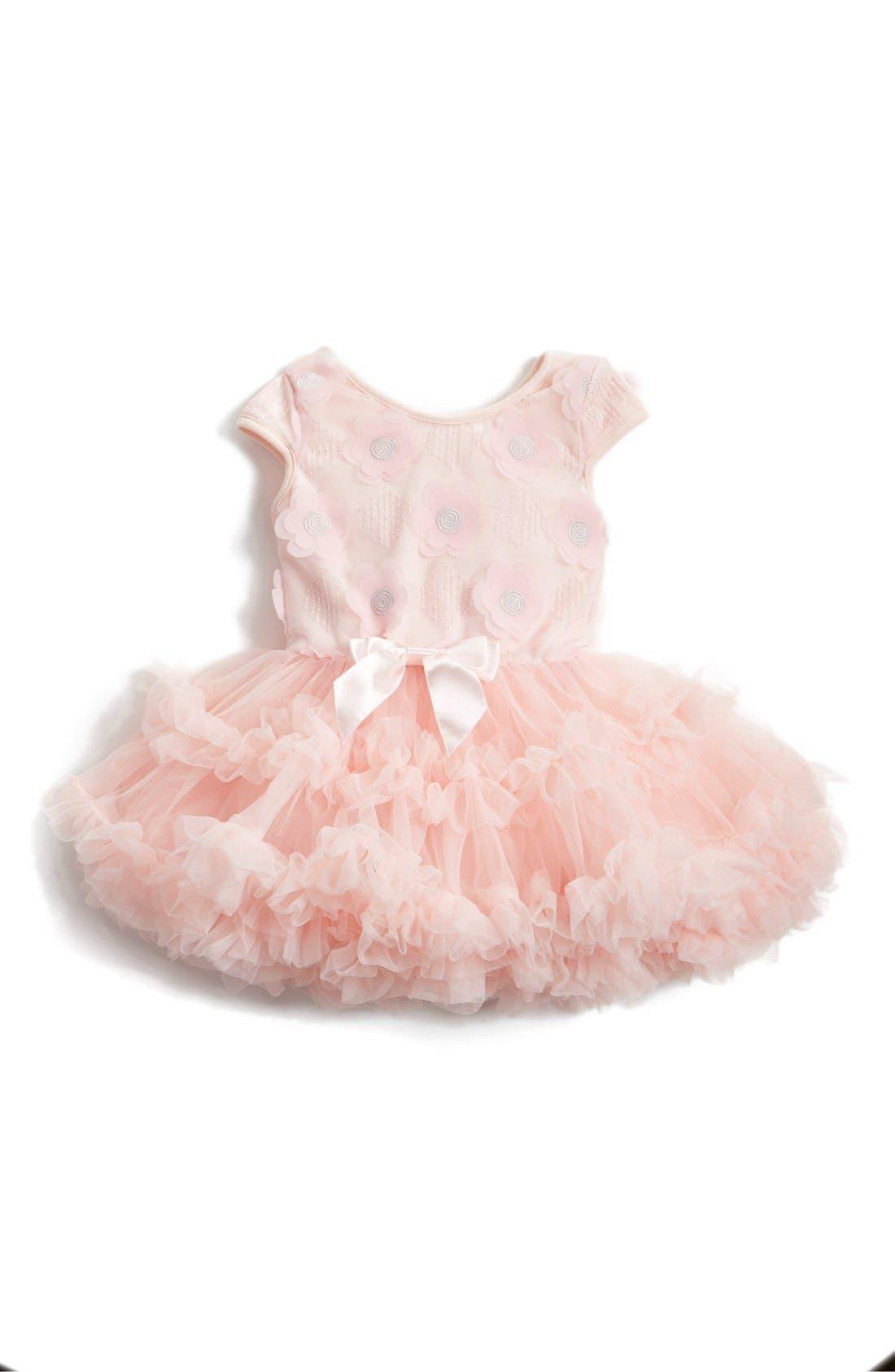 Main Image - Popatu Embroidered Flower Appliqué Pettidress (Baby Girls)