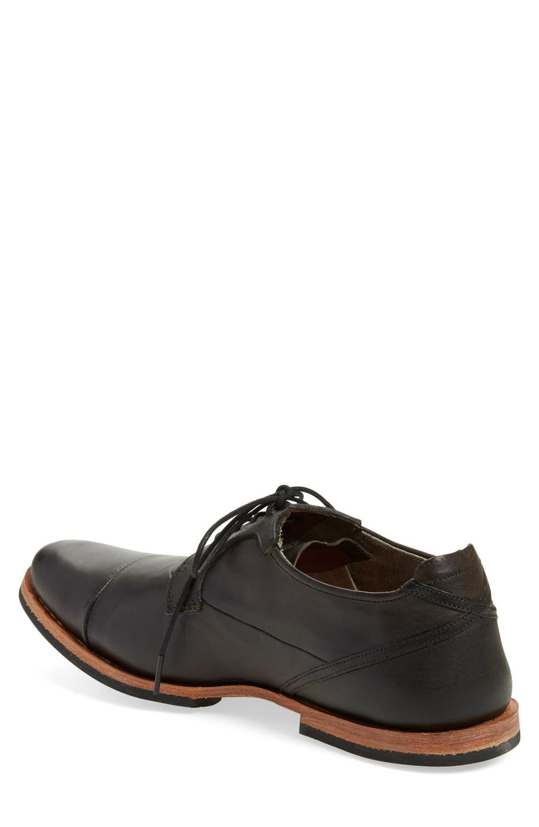 'Wodehouse Lost History' Cap Toe Oxford,                             Alternate thumbnail 2, color,                             Burnished Black Leather