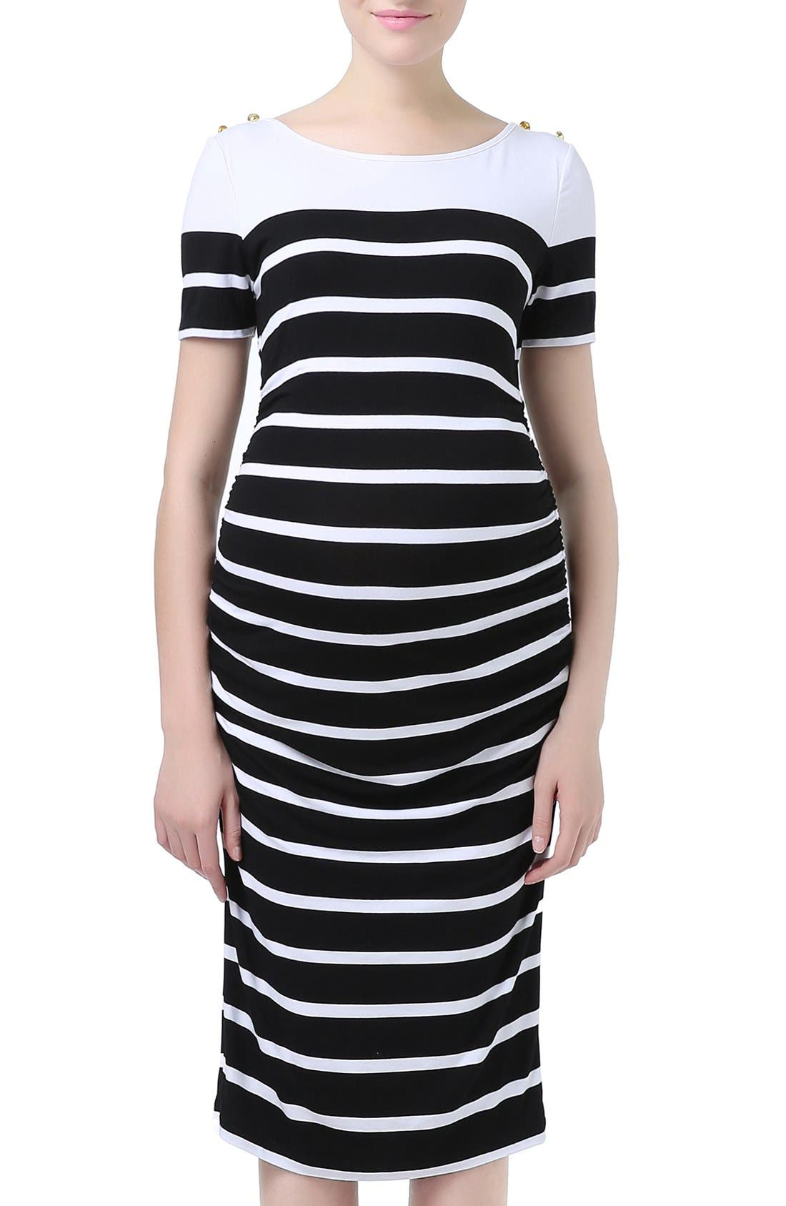 Kimi and Kai 'Marina' Stripe Boatneck Maternity Dress