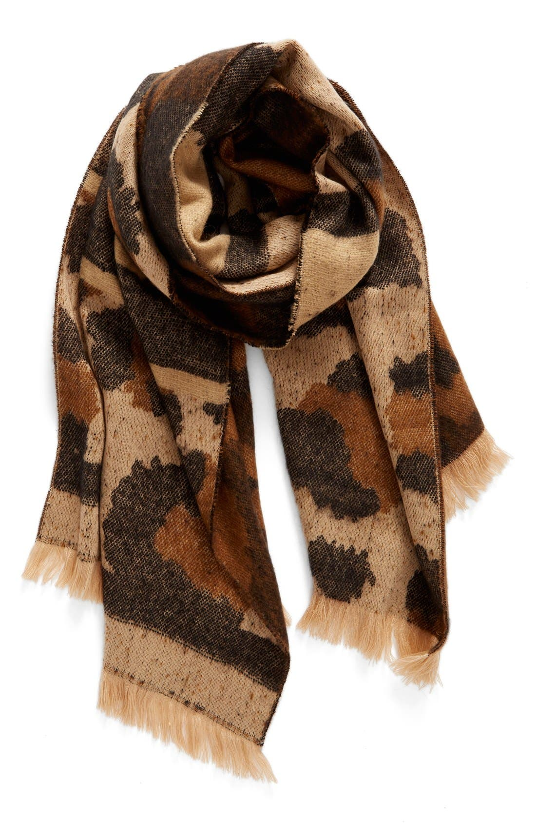 Mixed Leopard Pattern Scarf,                         Main,                         color, Brown Multi