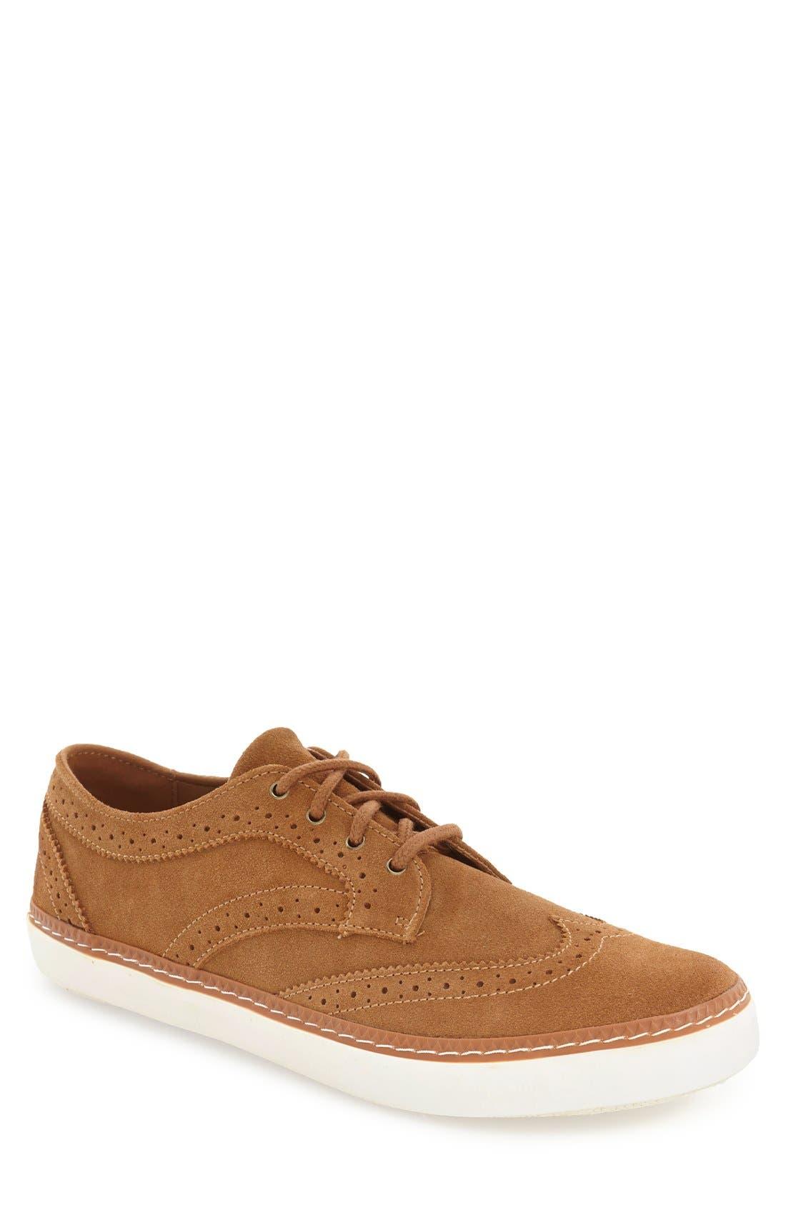'Novello' Wingtip Sneaker,                         Main,                         color, Daschund Suede