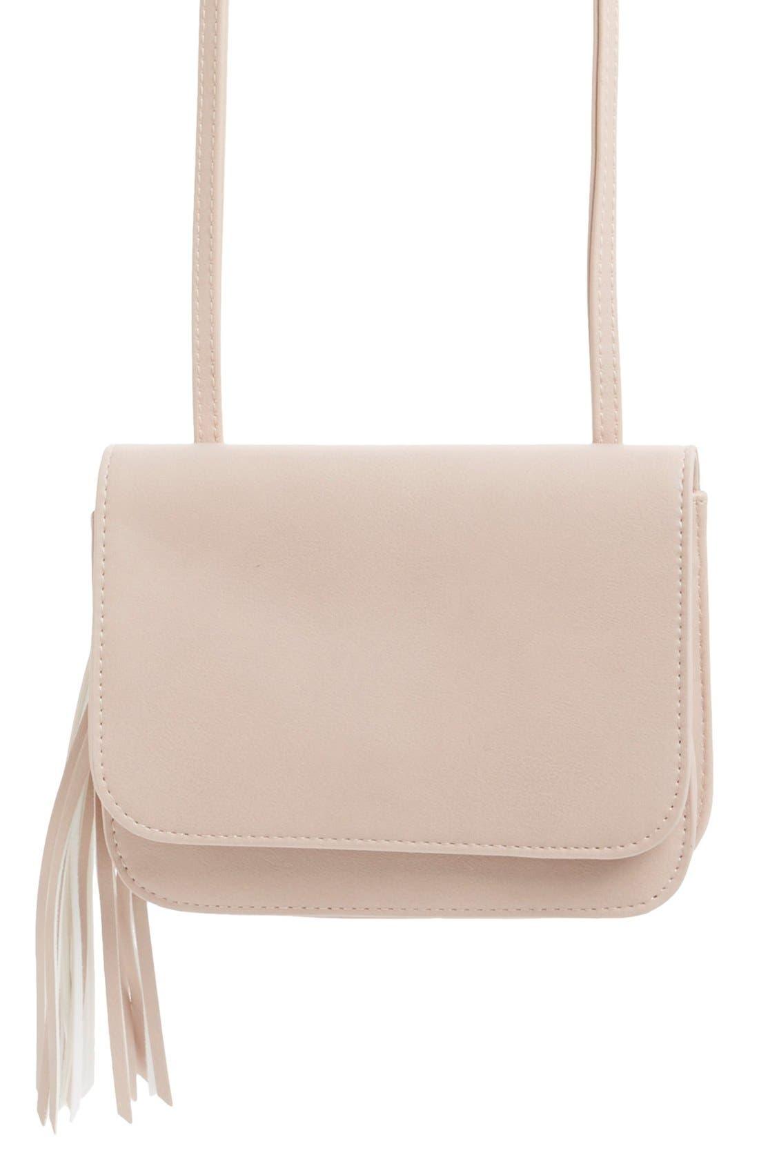 Tassel Crossbody Bag,                             Main thumbnail 1, color,                             Blush