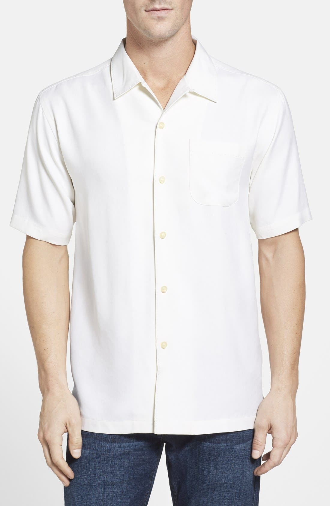 Catalina Twill Short Sleeve Silk Camp Shirt,                             Main thumbnail 1, color,                             Coconut