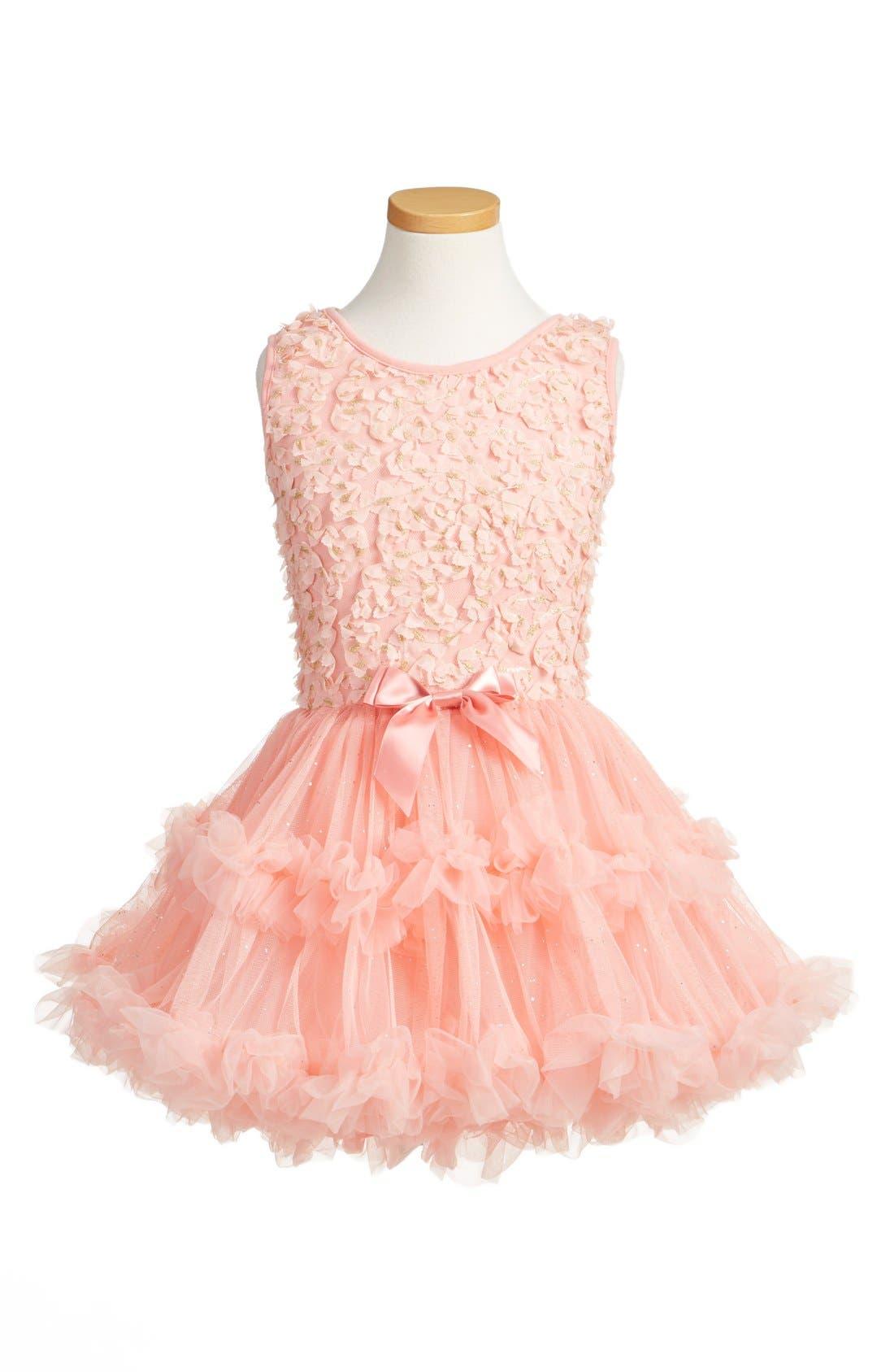 Floral Appliqué Tutu Dress,                         Main,                         color, Peach