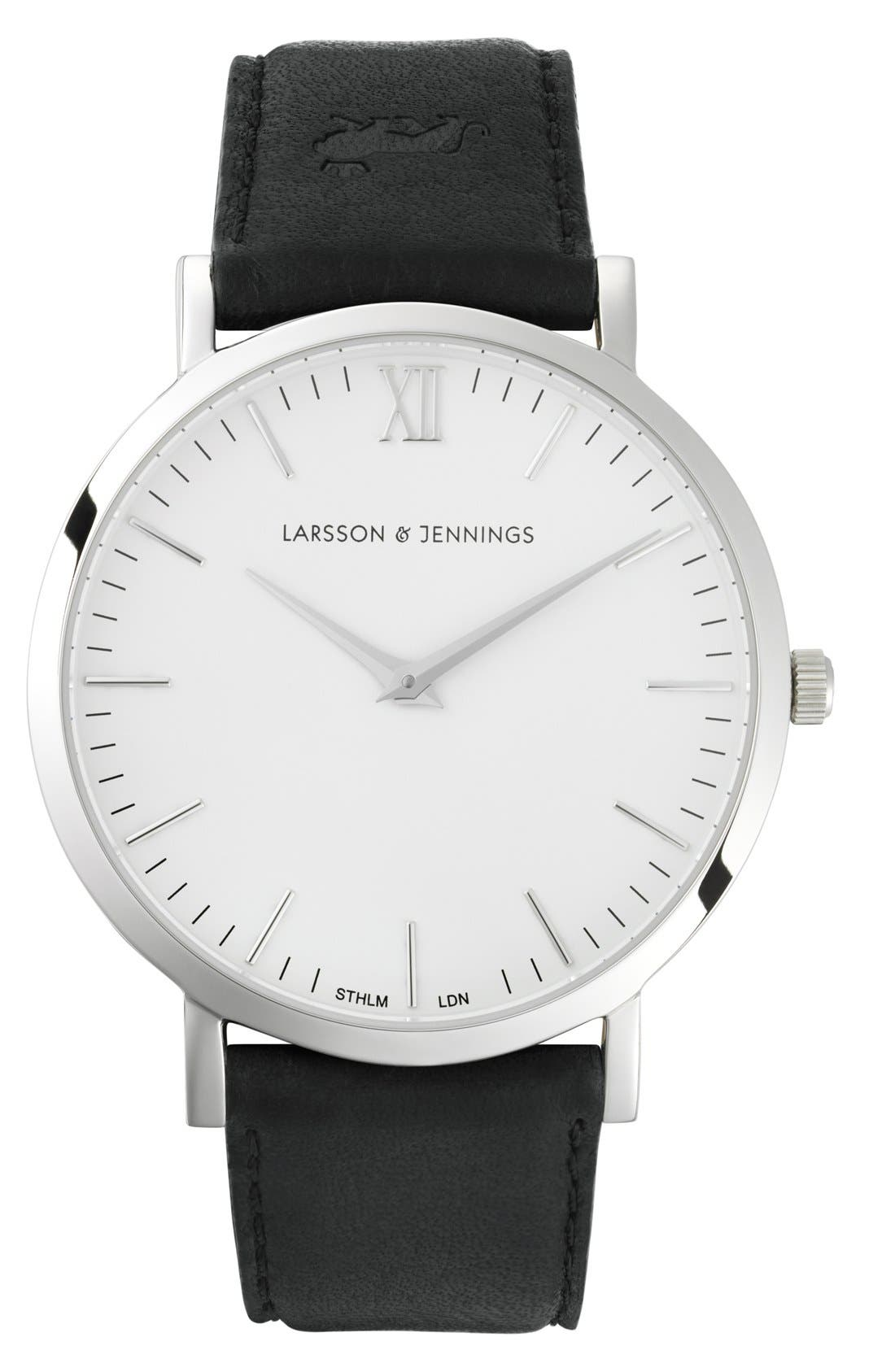 'Lugano' Leather Strap Watch, 40mm,                         Main,                         color, Black/ White