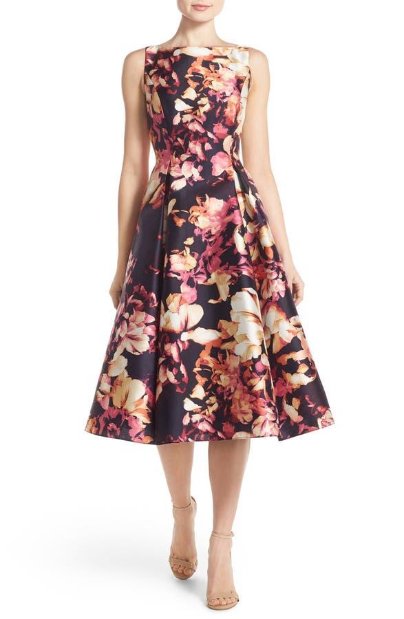 Adrianna Papell Floral Print Mikado Midi Dress | Nordstrom