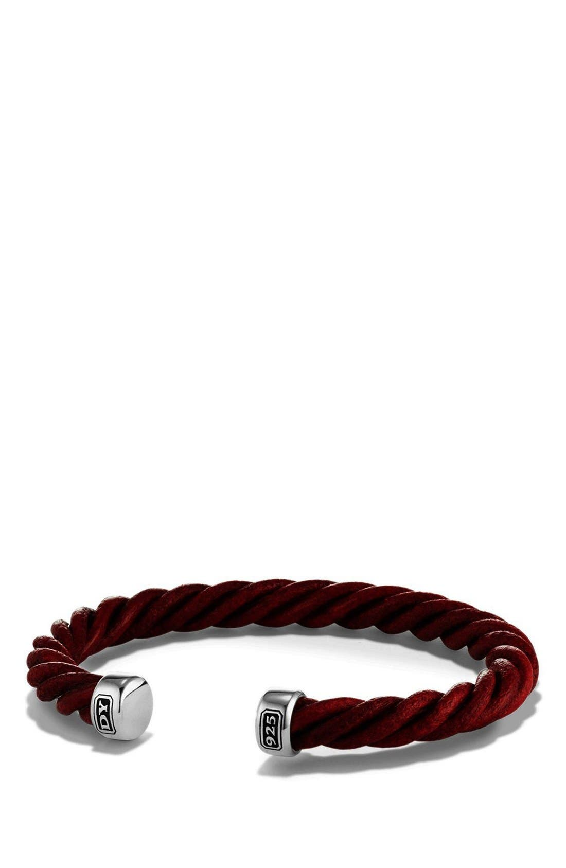 Leather Cuff Bracelet,                         Main,                         color, Silver/ Red Leather