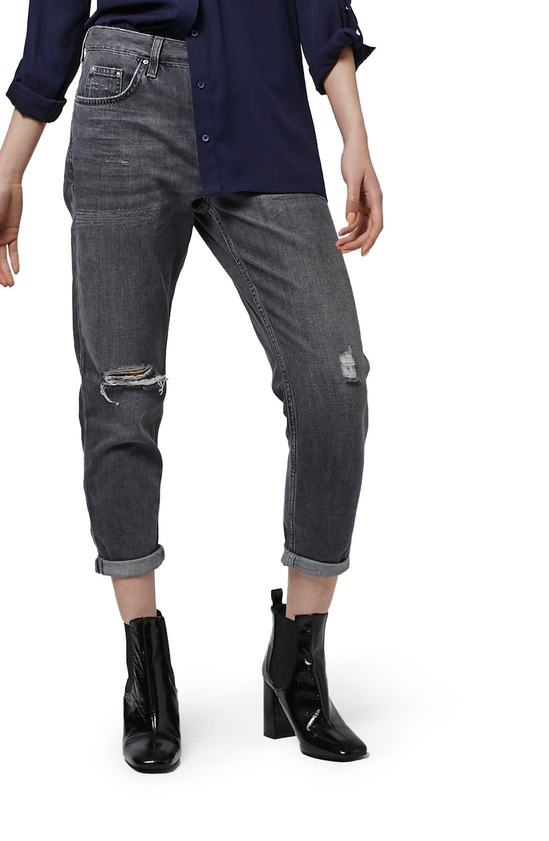 Main Image - Topshop Moto 'Hayden' Ripped Boyfriend Jeans (Petite)