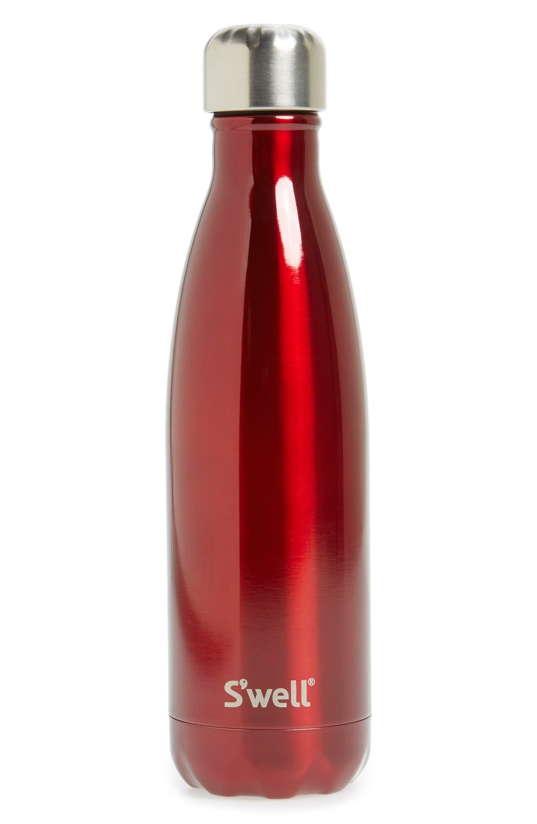 'Shimmer Collection' Stainless Steel Water Bottle,                         Main,                         color, Rowboat Red
