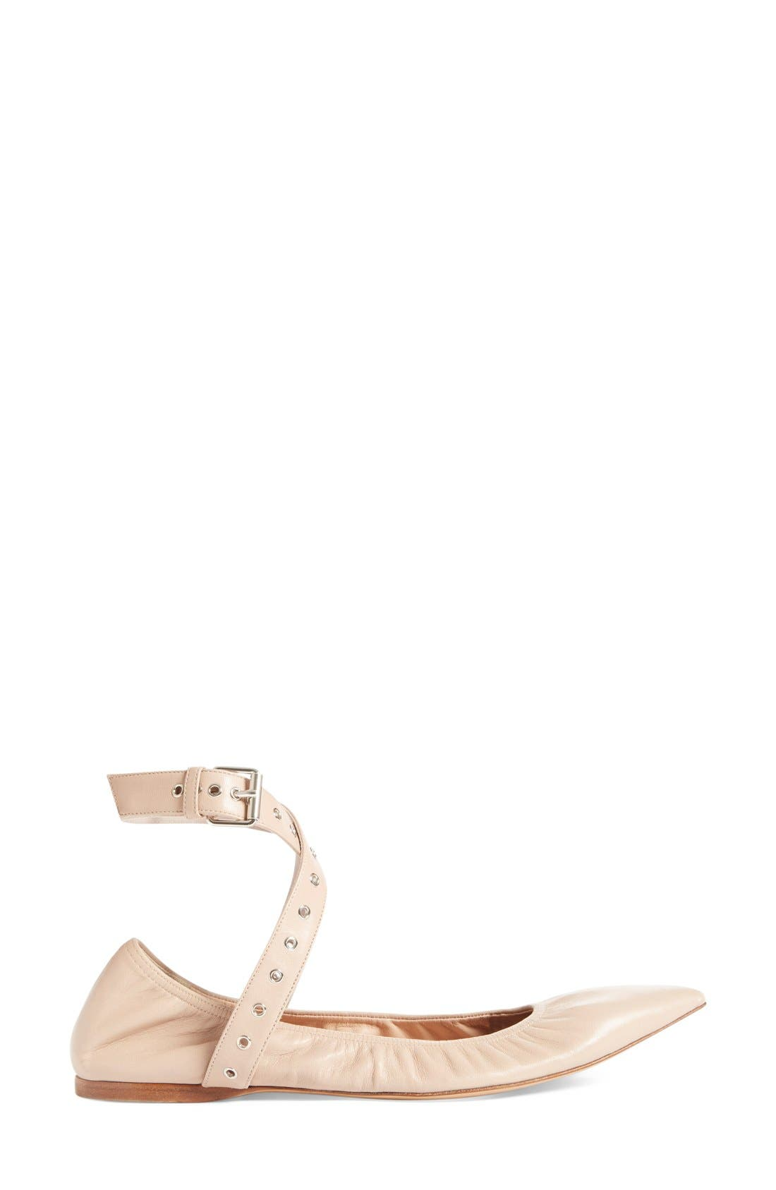 'Love Latch' Pointy Toe Flat,                             Alternate thumbnail 4, color,                             Nude Leather