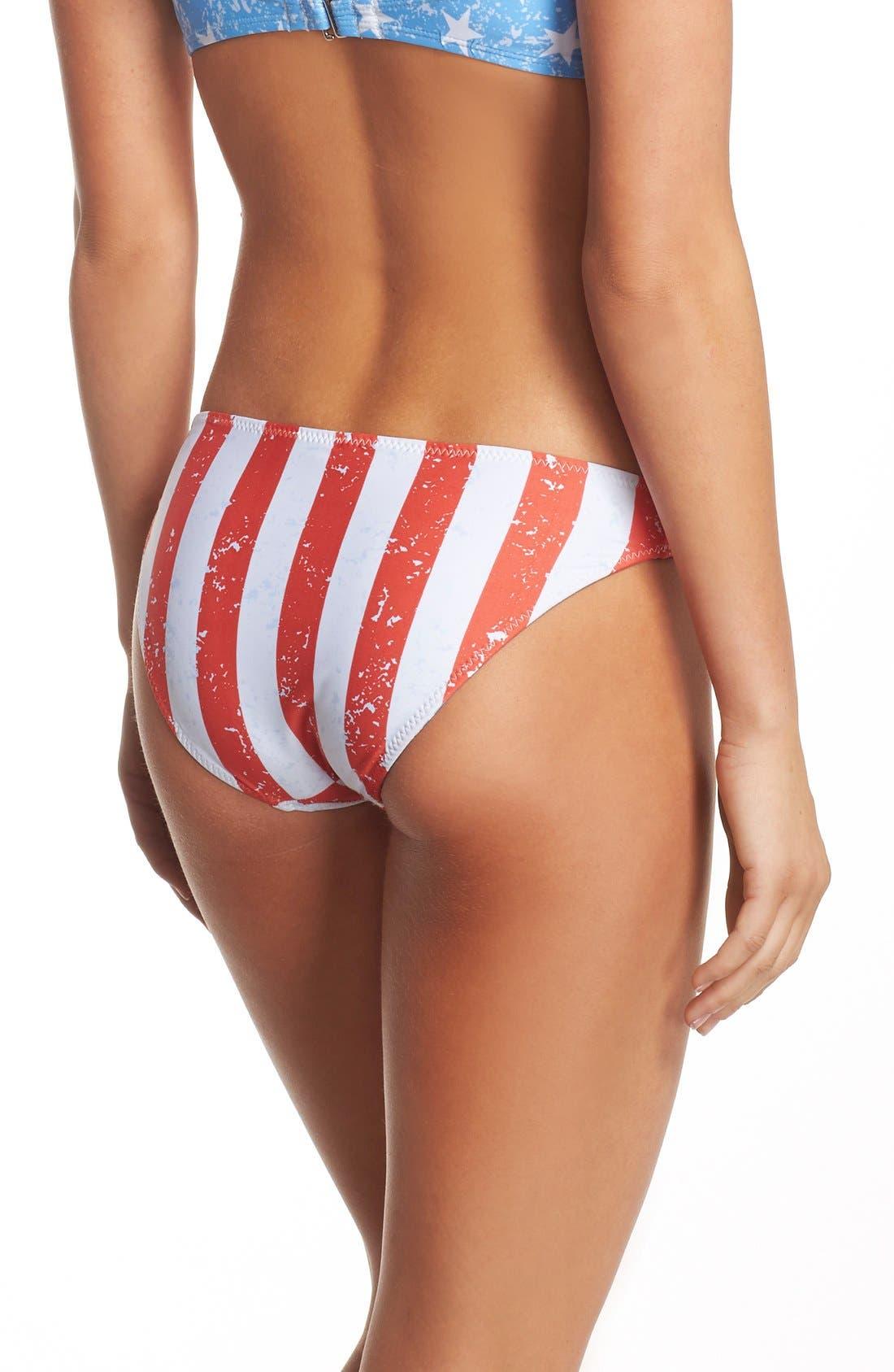 'American Flag - Red, White & You' Reversible Bikini Bottoms,                             Alternate thumbnail 3, color,                             Blue Multi