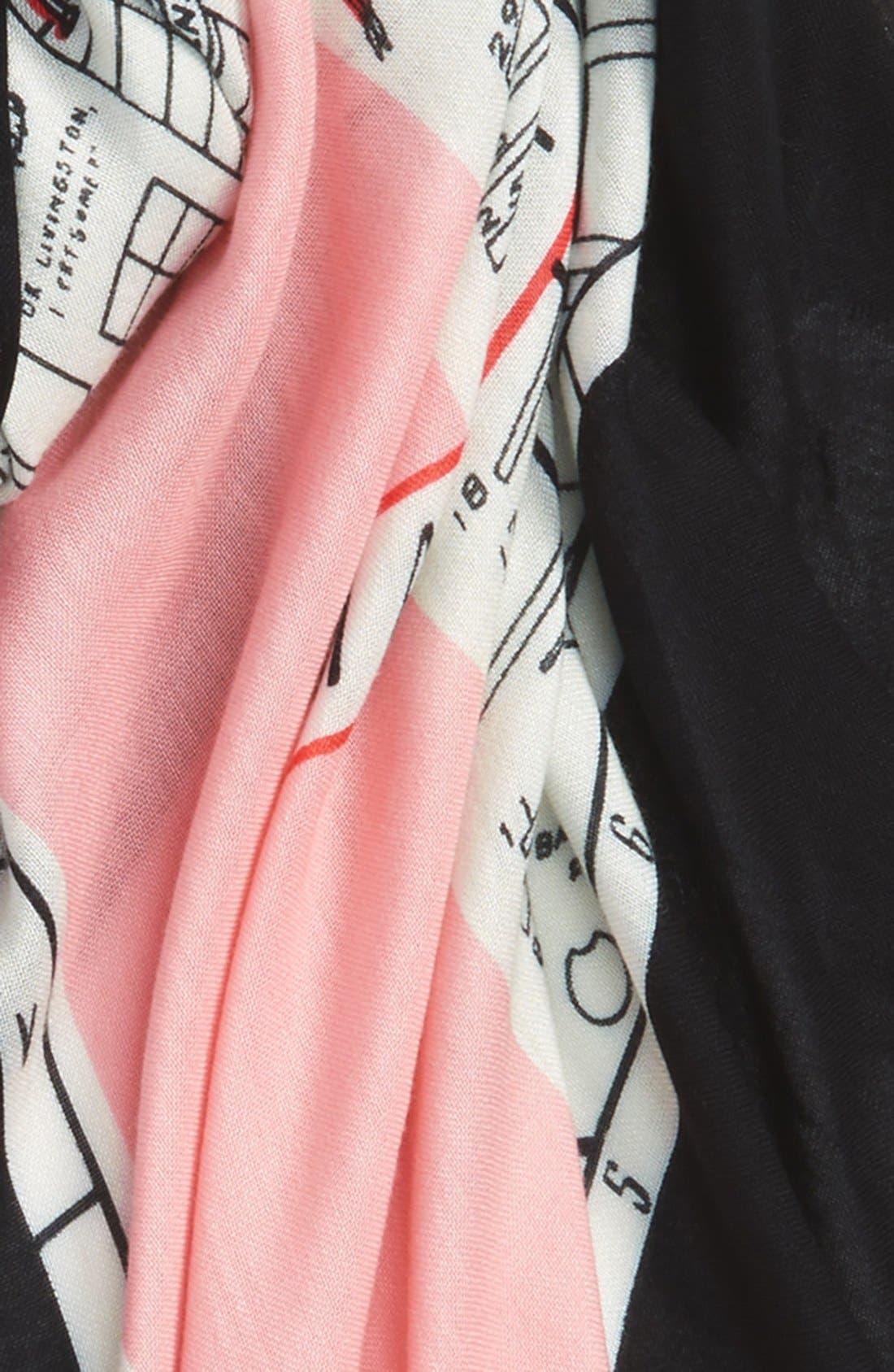 new york map print scarf,                             Alternate thumbnail 3, color,                             Pink Sorbet