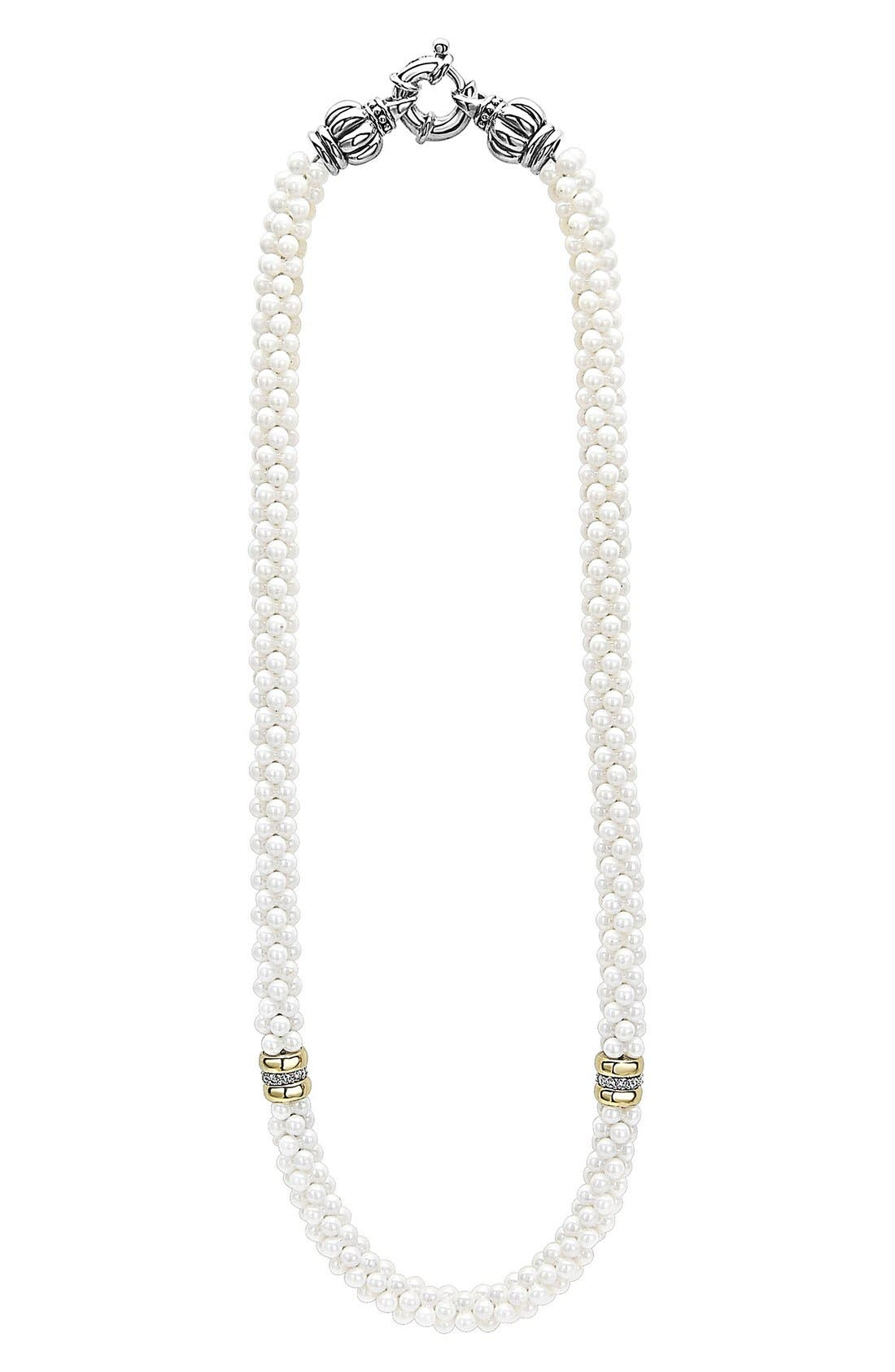'White Caviar' 7mm Beaded Diamond Station Necklace,                             Main thumbnail 1, color,                             White Caviar/ Yellow Gold
