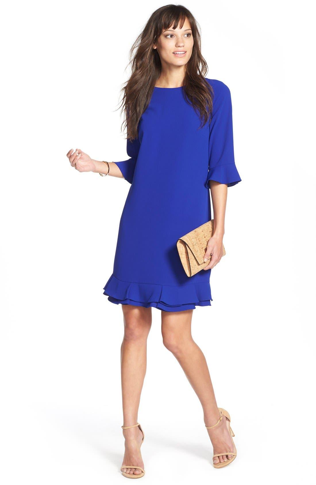 Alternate Image 3  - CeCe 'Kate' Ruffle Hem Shift Dress (Regular & Petite)