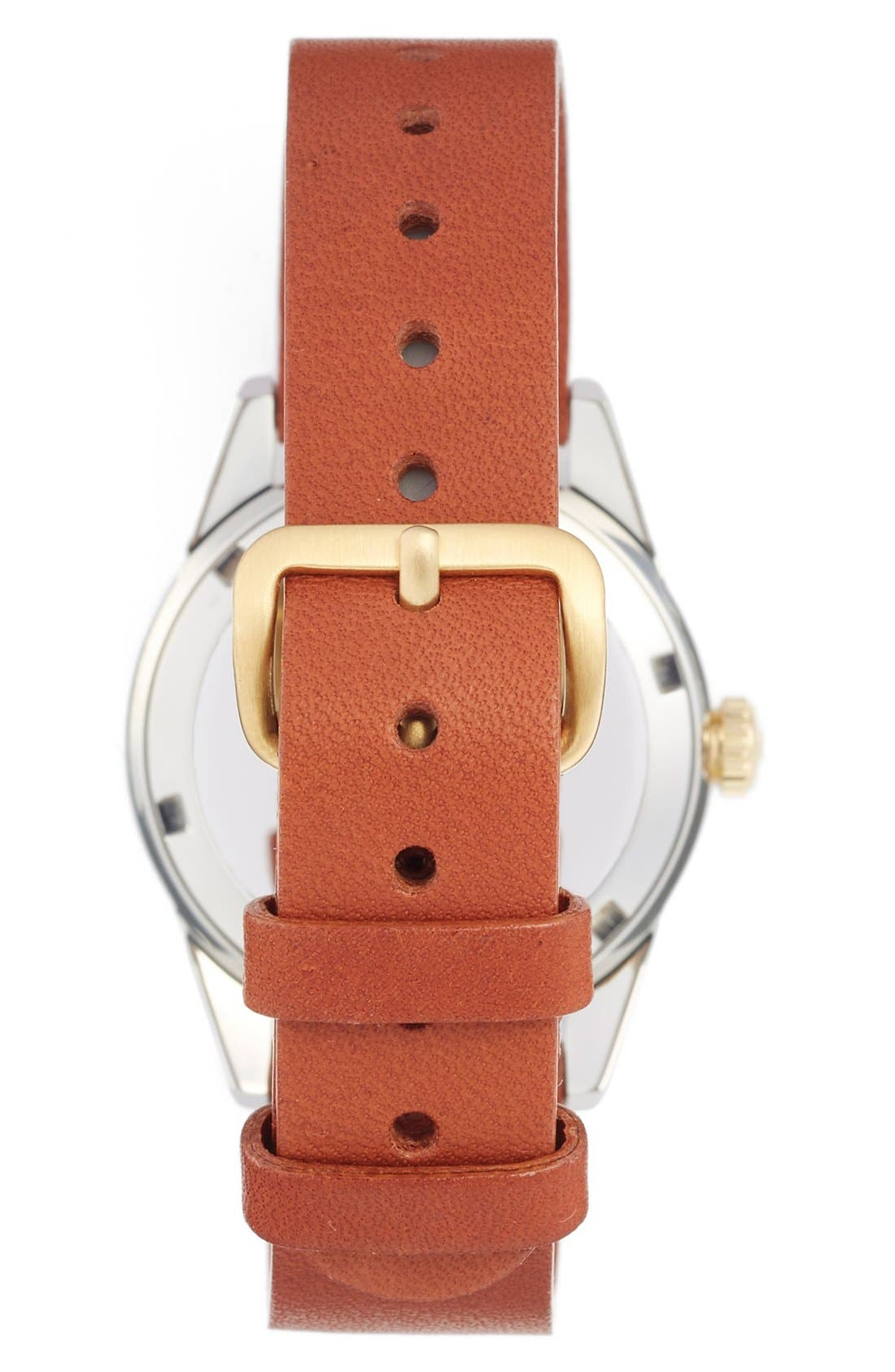 Snow Aska Leather Strap Watch, 32mm,                             Alternate thumbnail 3, color,                             Brown