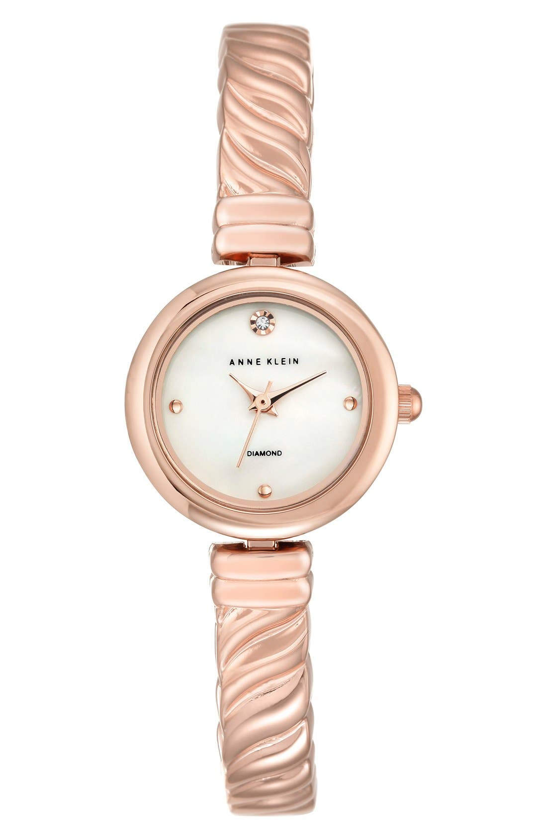 Diamond Dial Bangle Watch, 24mm,                             Main thumbnail 1, color,                             Rose Gold/ Mother Of Pearl
