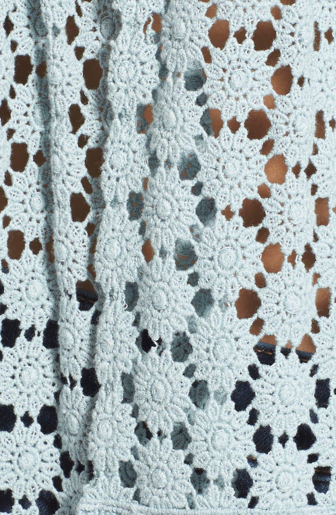 'Amelia' Off the Shoulder Crochet Crop Top,                             Alternate thumbnail 5, color,                             Mint