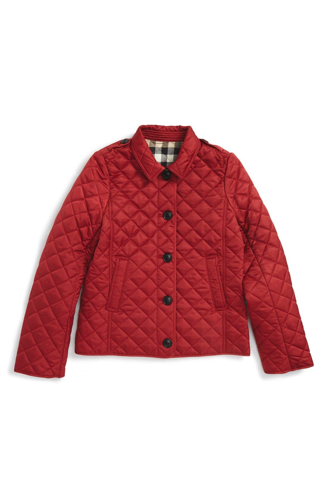 'Mini Ashurst' Quilted Jacket,                         Main,                         color, Parade Red