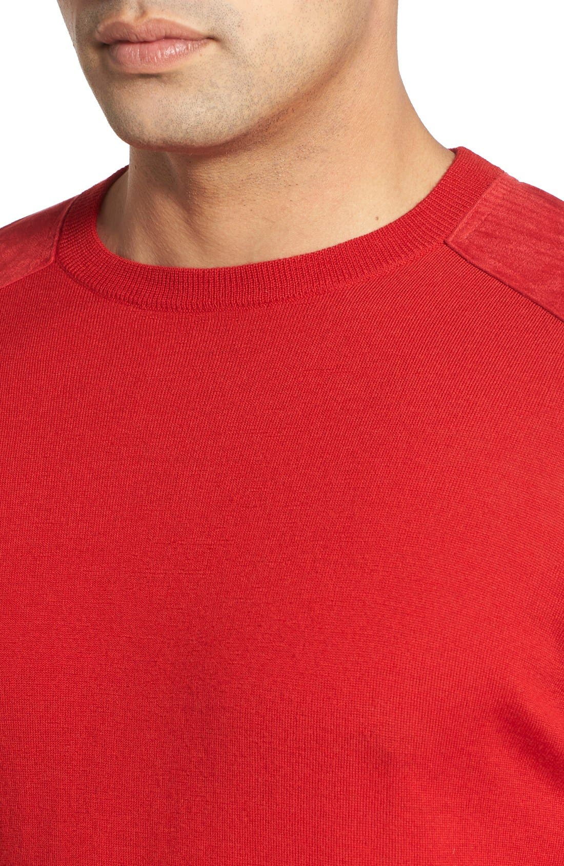Regular Fit Crewneck Sweater,                             Alternate thumbnail 3, color,                             Cherry