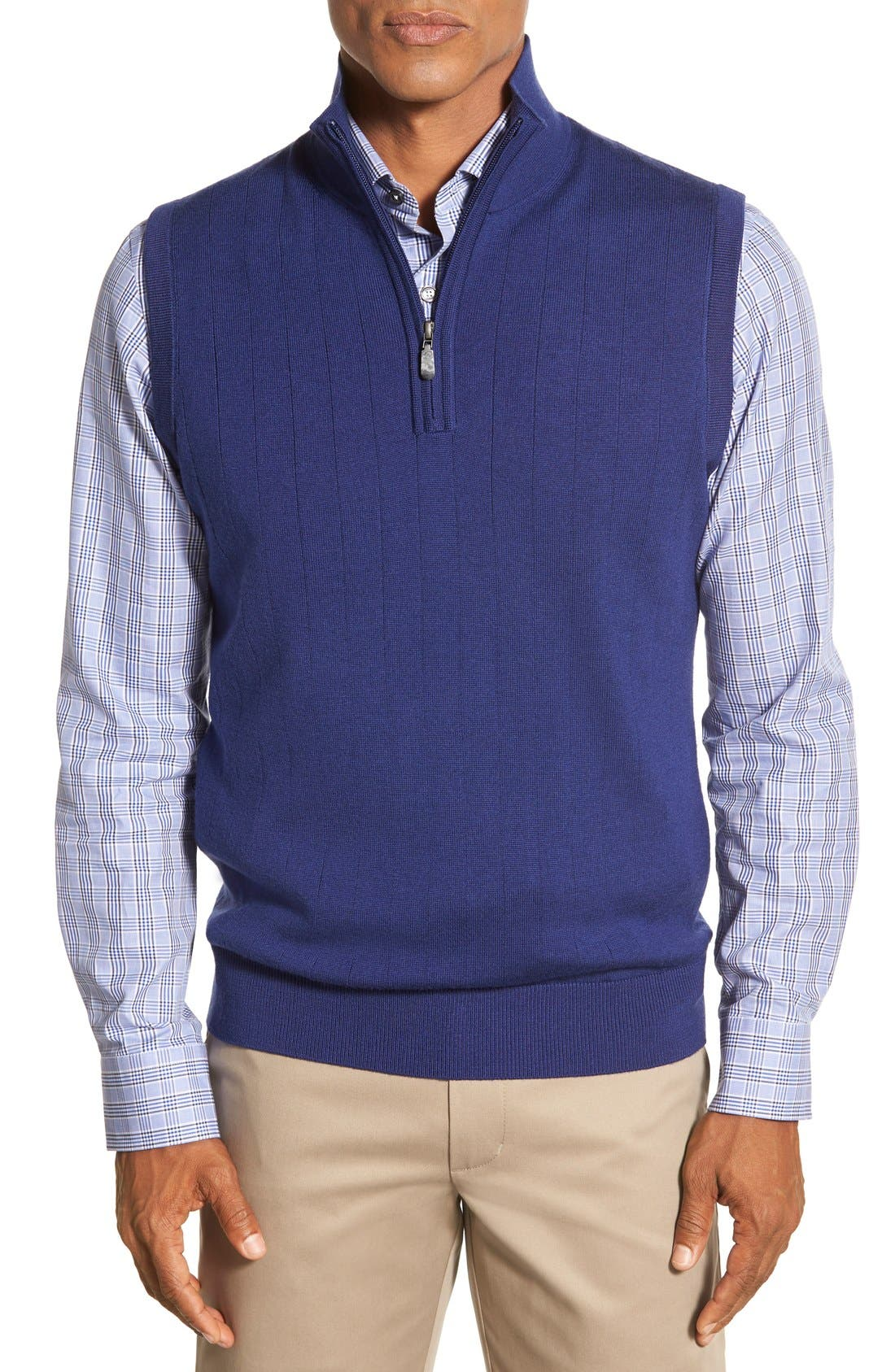 Quarter Zip Wool Sweater Vest,                             Main thumbnail 1, color,                             Summer Navy