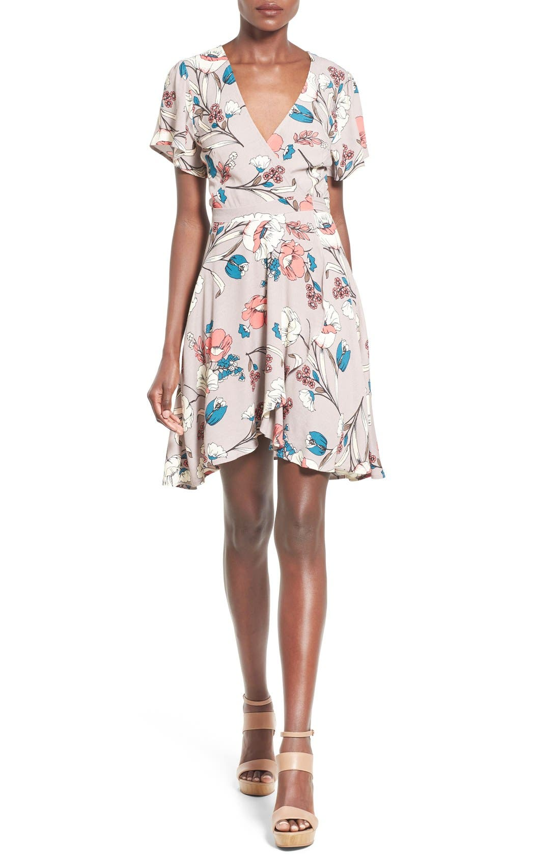 Alternate Image 1 Selected - ASTR Floral Print Wrap Dress